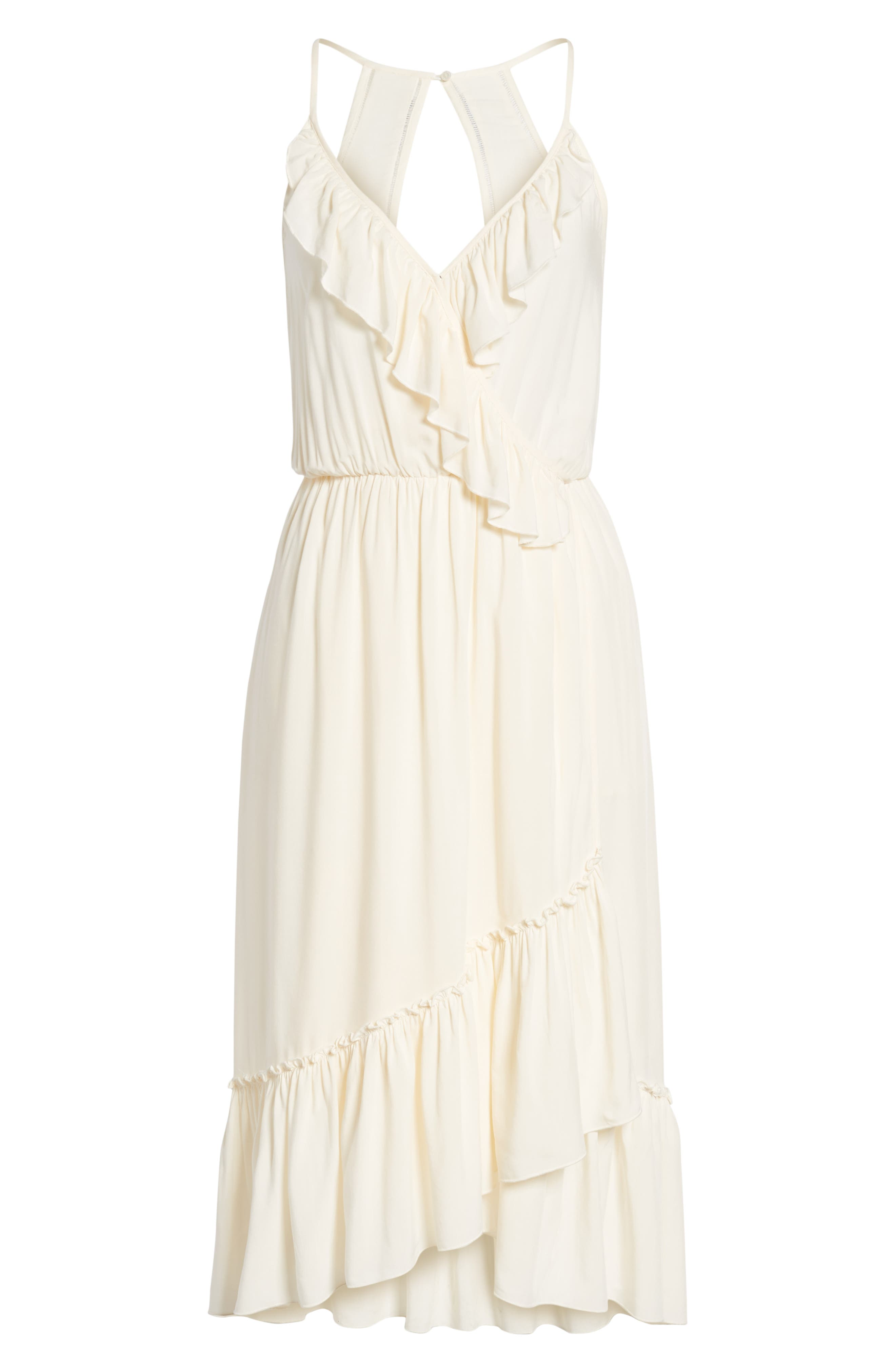 Wrap Style Midi Dress,                             Alternate thumbnail 7, color,                             COLOR 01 OFF WHITE