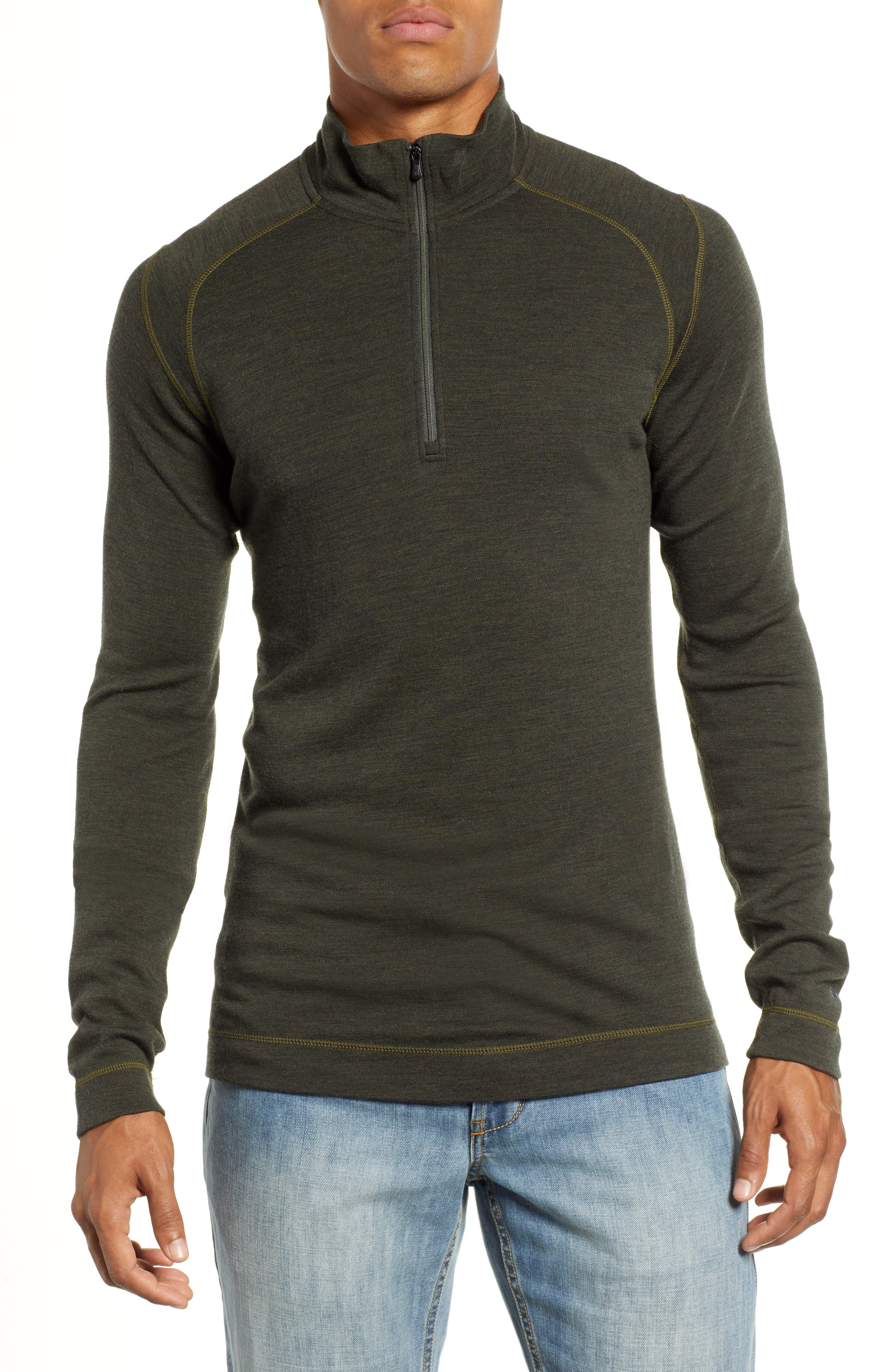 Merino 250 Base Layer Quarter Zip Pullover,                         Main,                         color, OLIVE HEATHER