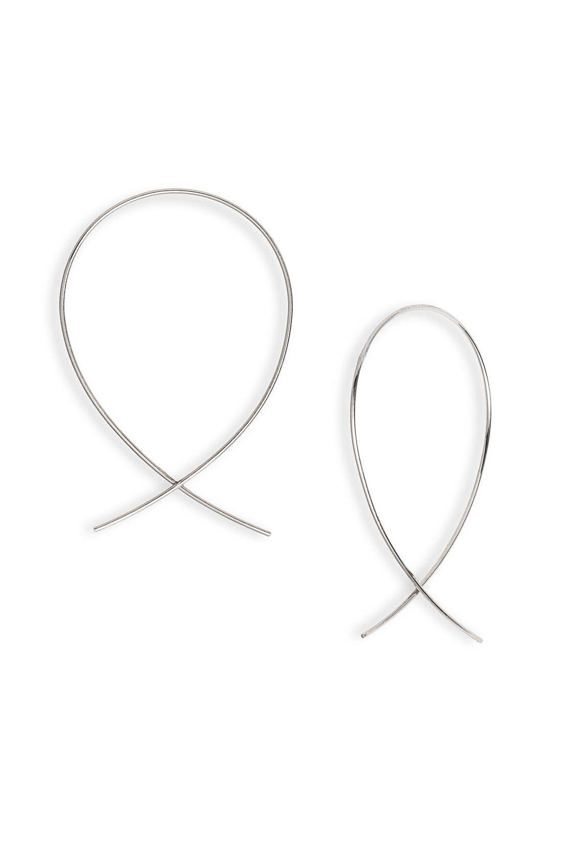 'Upside Down' Small Hoop Earrings,                             Main thumbnail 1, color,                             WHITE GOLD