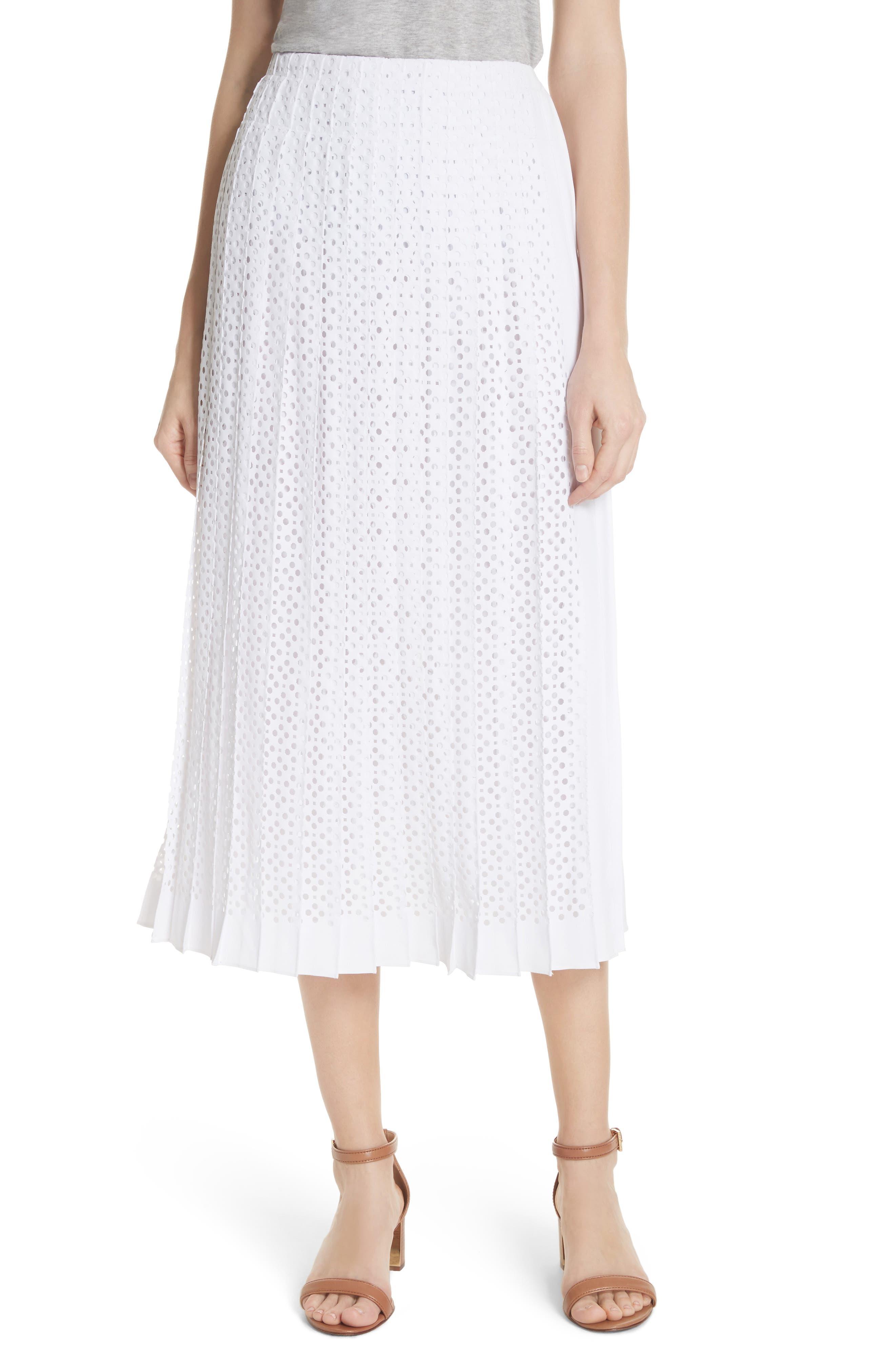 TORY BURCH Carine Eyelet Midi Skirt, Main, color, 100