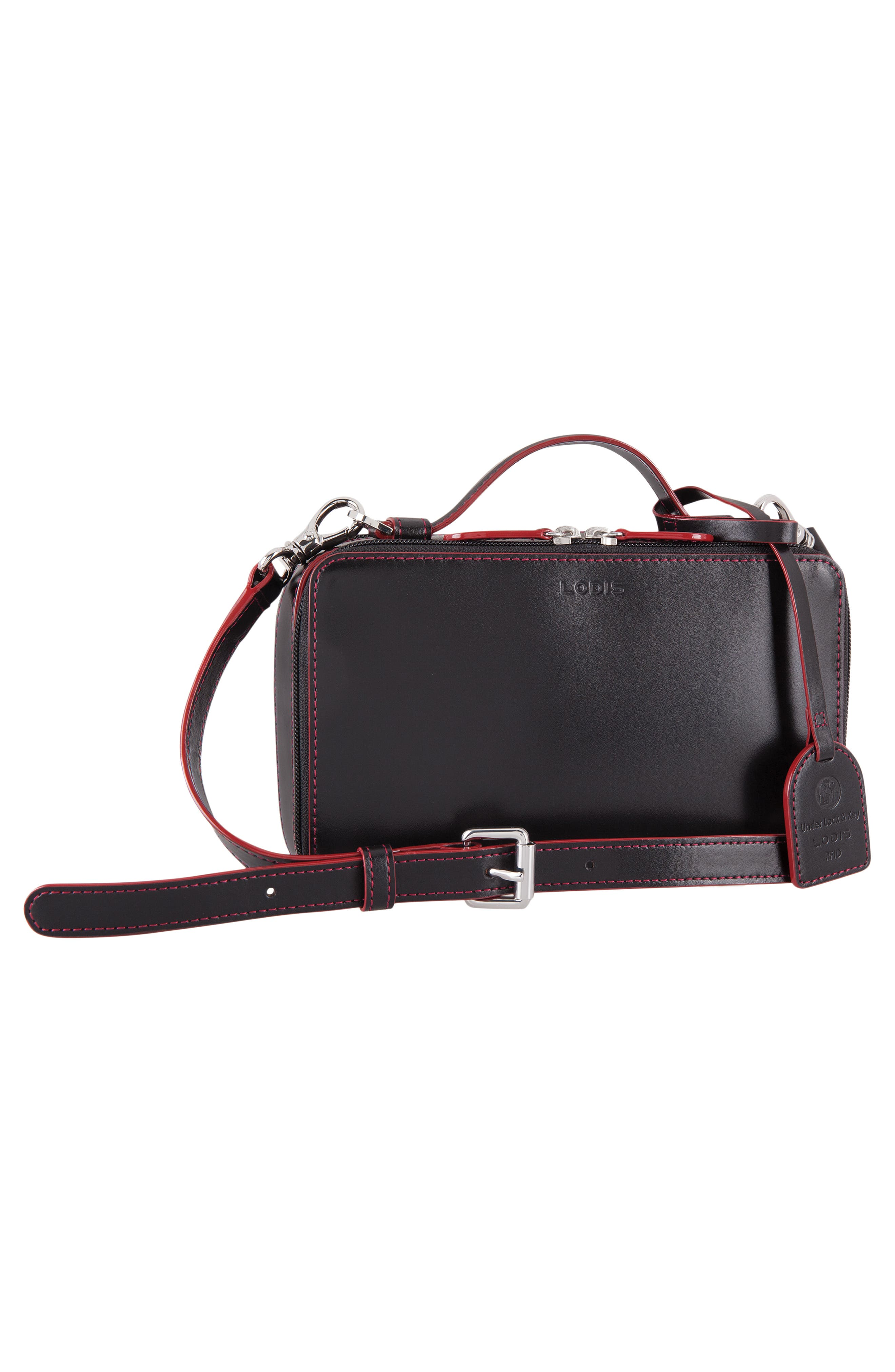 Downtown Sally RFID Zip-Around Leather Crossbody Bag,                             Alternate thumbnail 7, color,                             BLACK