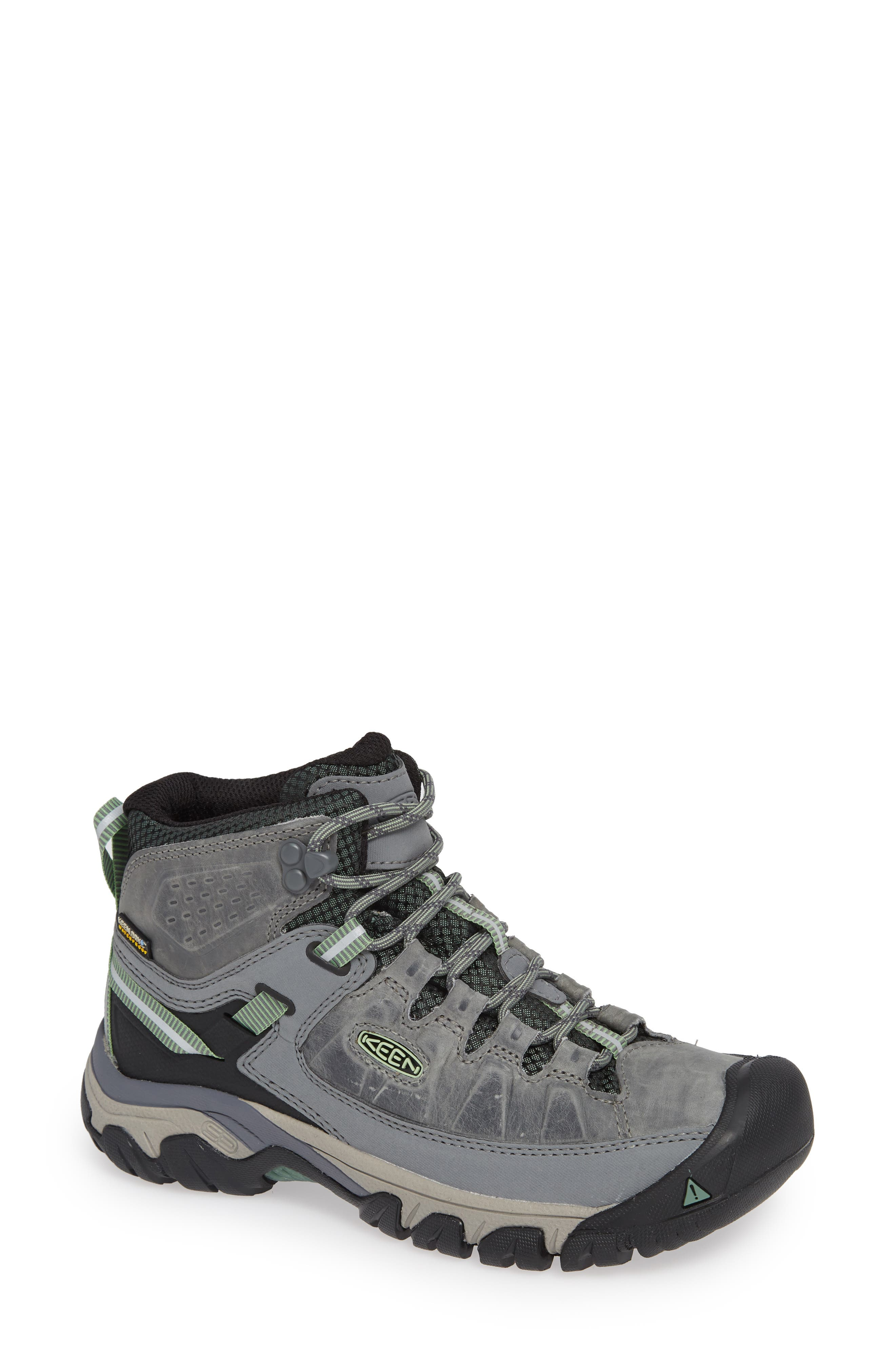 Targhee III Mid Waterproof Hiking Boot,                             Main thumbnail 1, color,                             BLEACHER/ DUCK GREEN LEATHER
