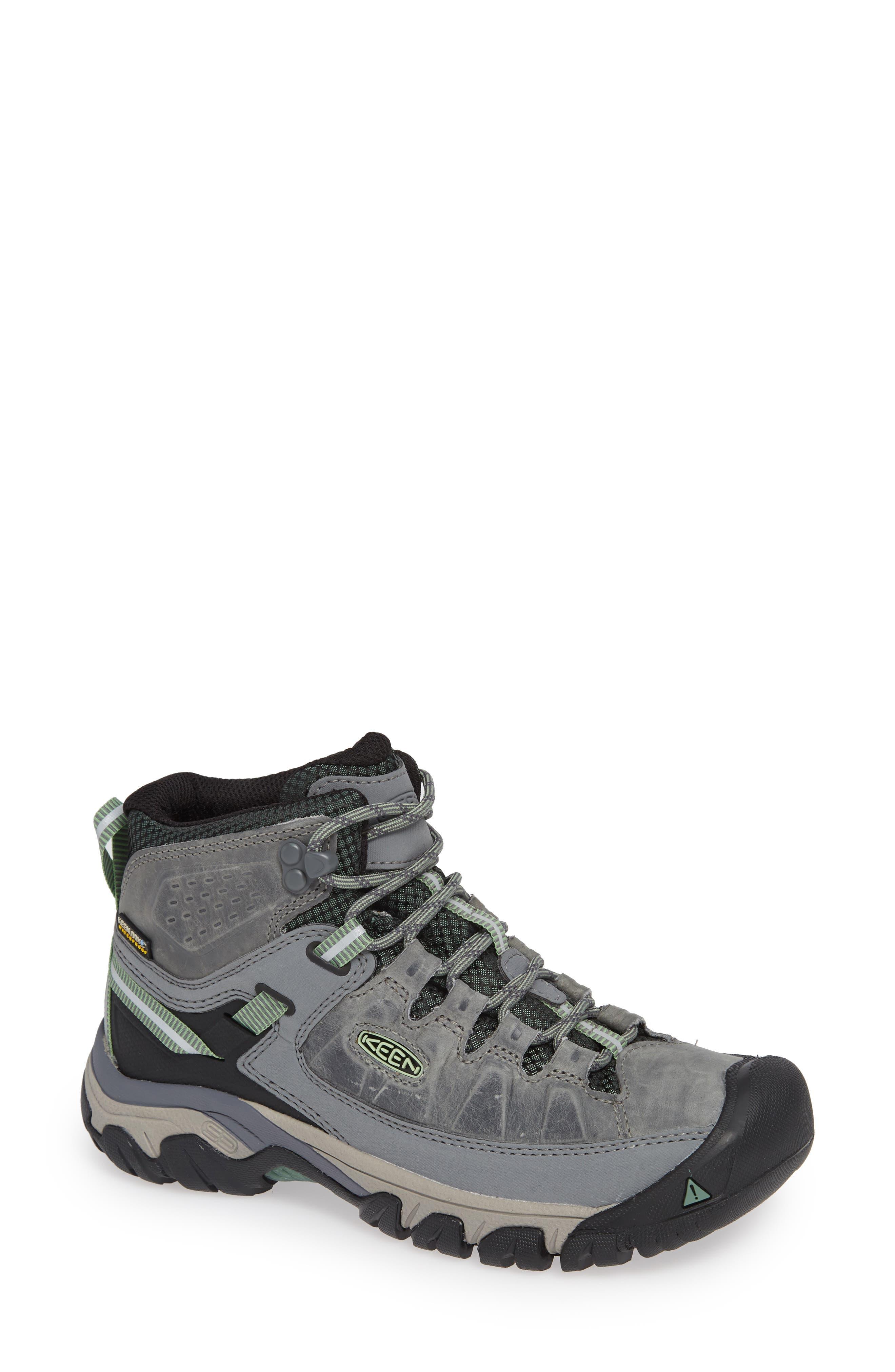 Targhee III Mid Waterproof Hiking Boot,                         Main,                         color, BLEACHER/ DUCK GREEN LEATHER