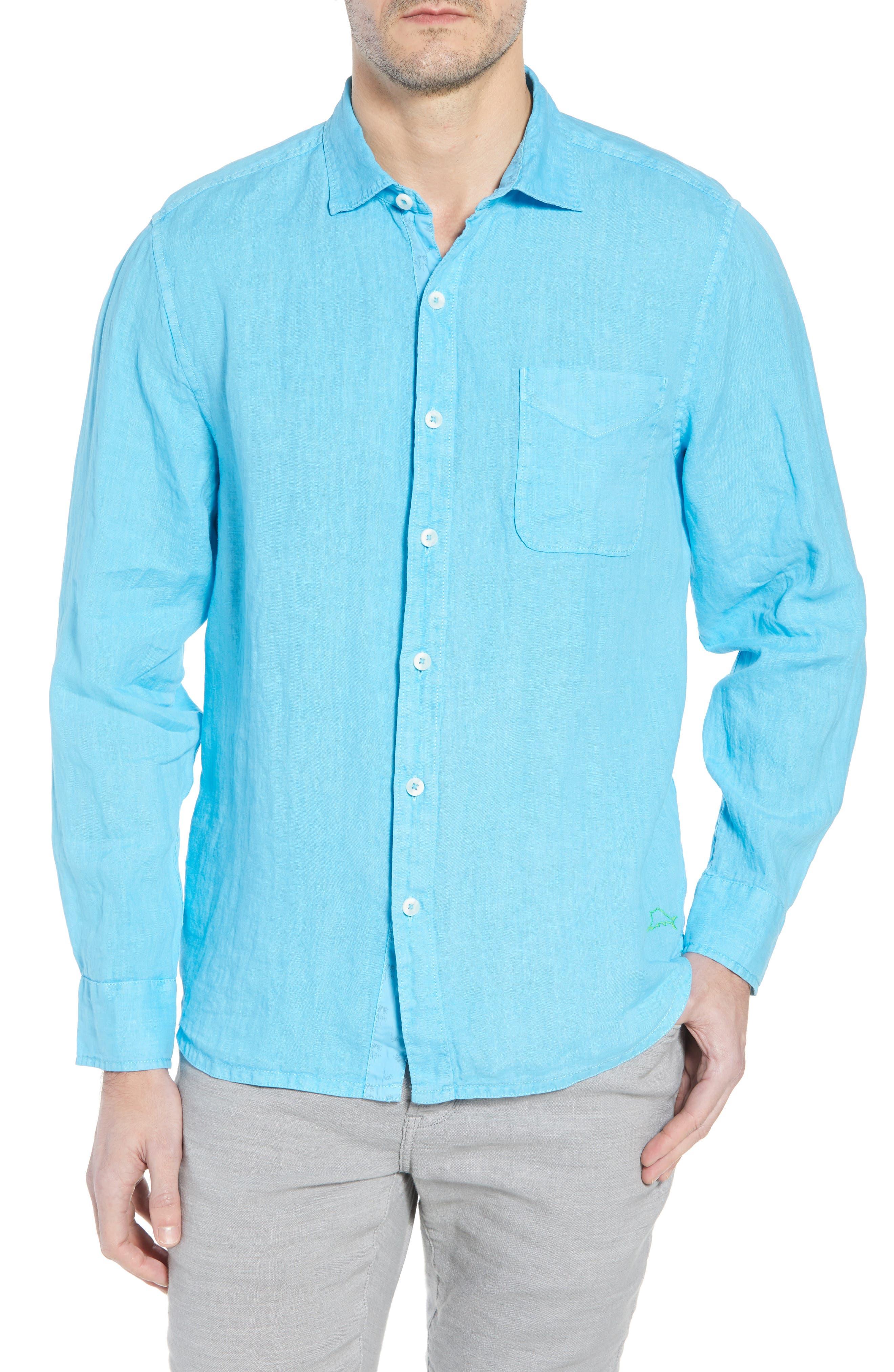 Seaspray Breezer Standard Fit Linen Sport Shirt,                             Main thumbnail 1, color,                             POOL PARTY BLUE