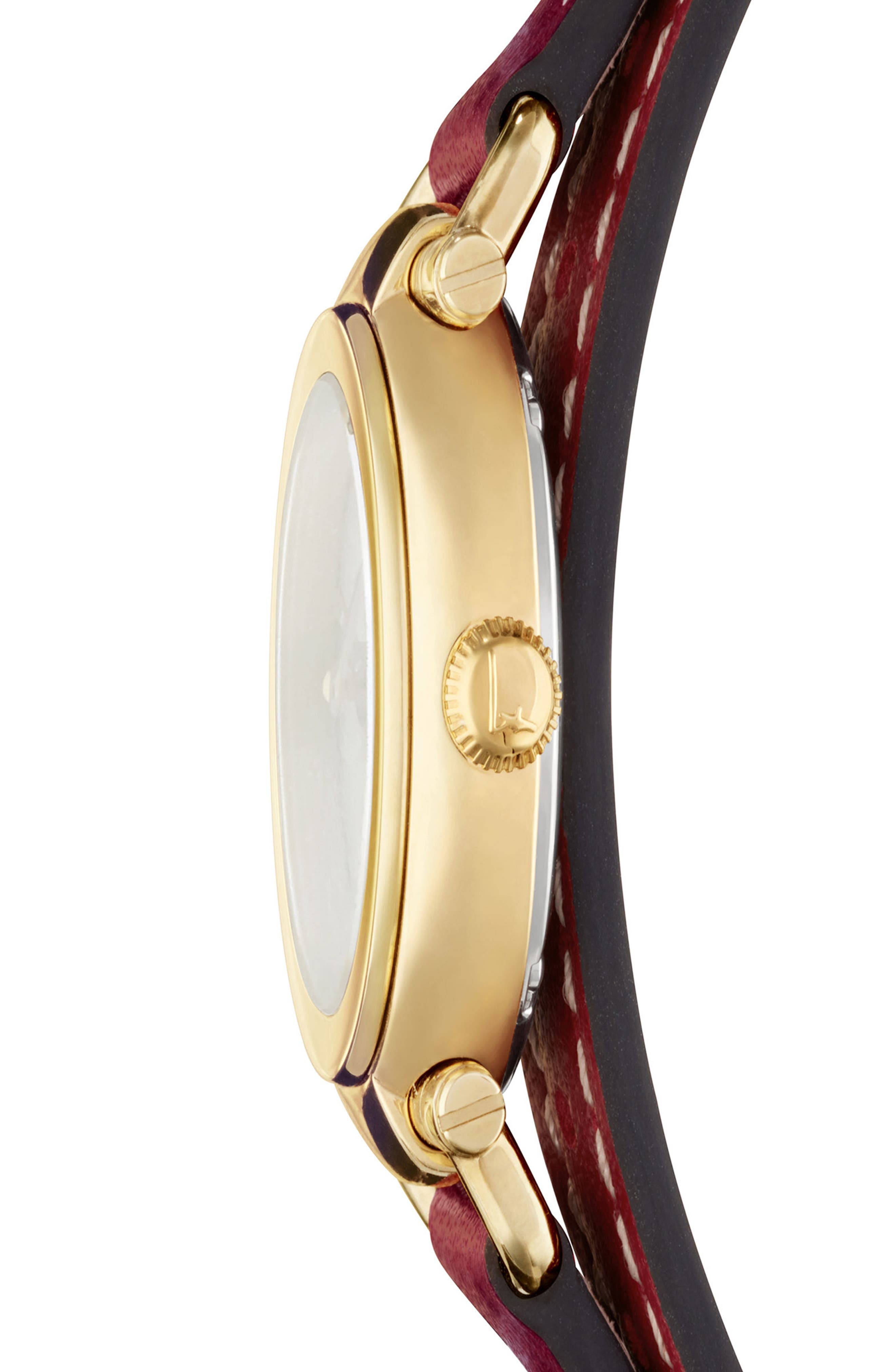 Gancino Leather Strap Watch, 26mm,                             Alternate thumbnail 3, color,                             RED/ GOLD