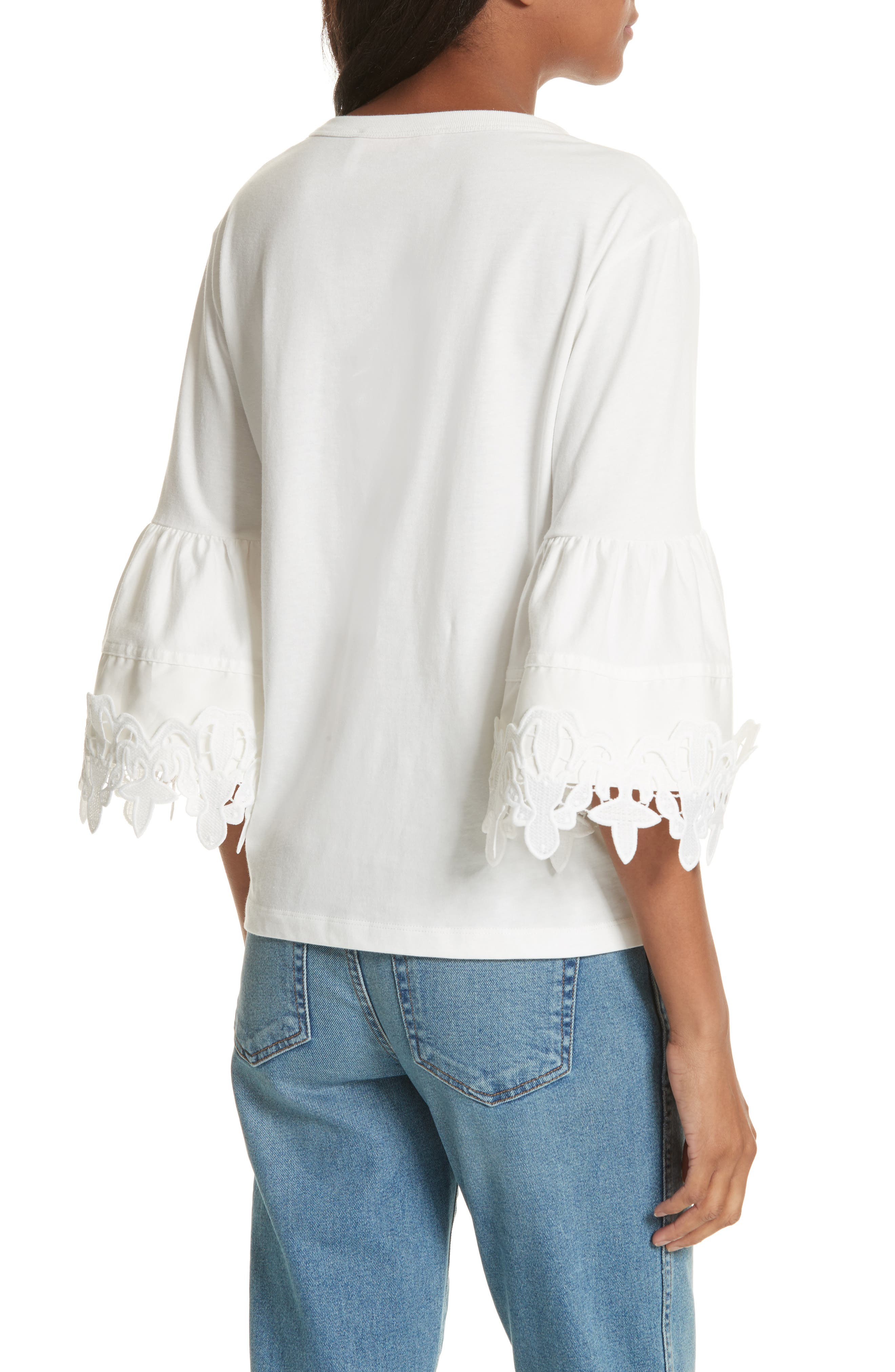 Lace Trim Bell Sleeve Top,                             Alternate thumbnail 4, color,