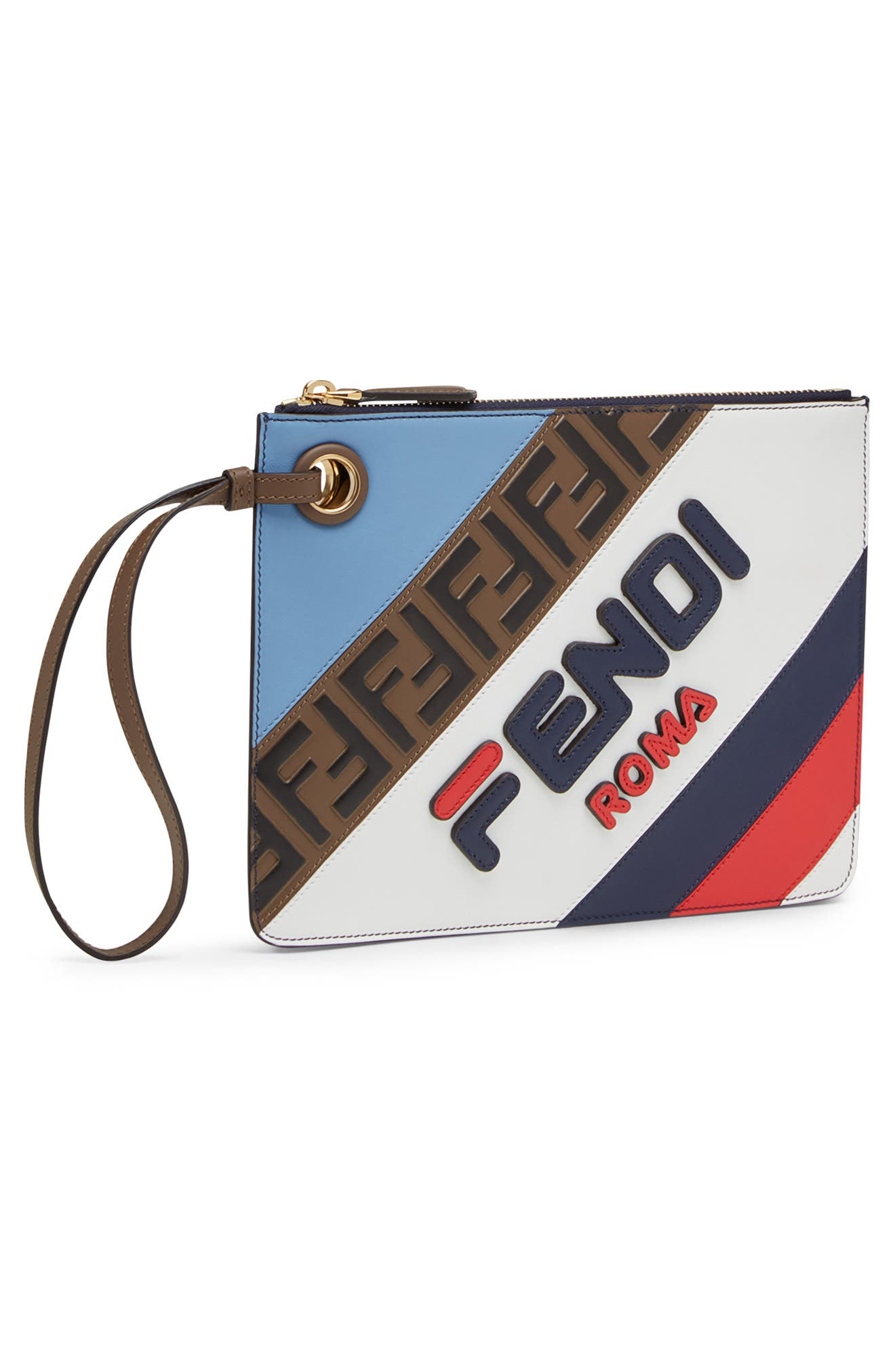 x FILA Small Mania Logo Leather Clutch,                             Alternate thumbnail 4, color,                             NEBUL/ BERRY MULTI