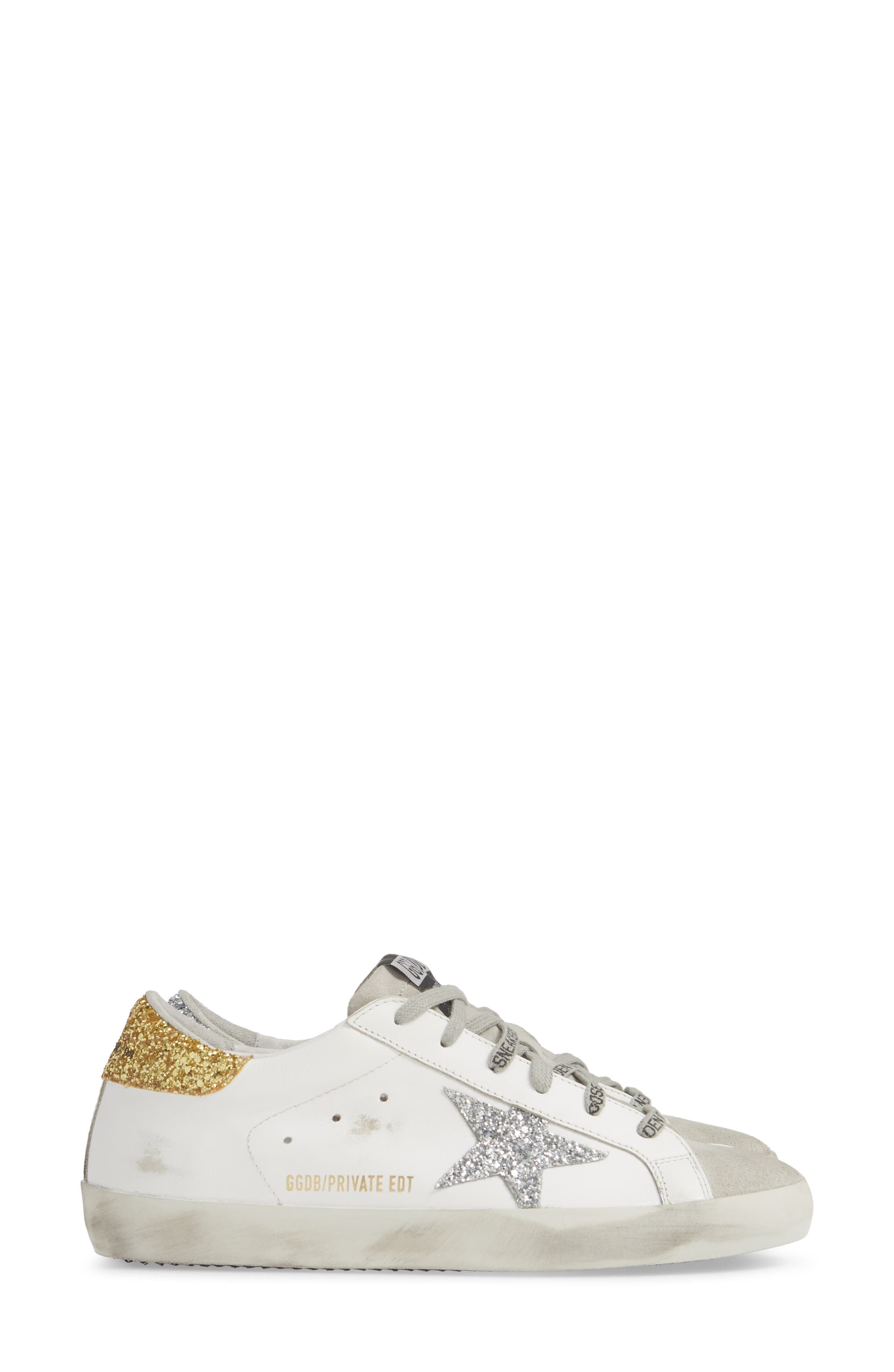 Superstar Low Top Sneaker,                             Alternate thumbnail 4, color,                             WHITE/ GOLD/ SILVER