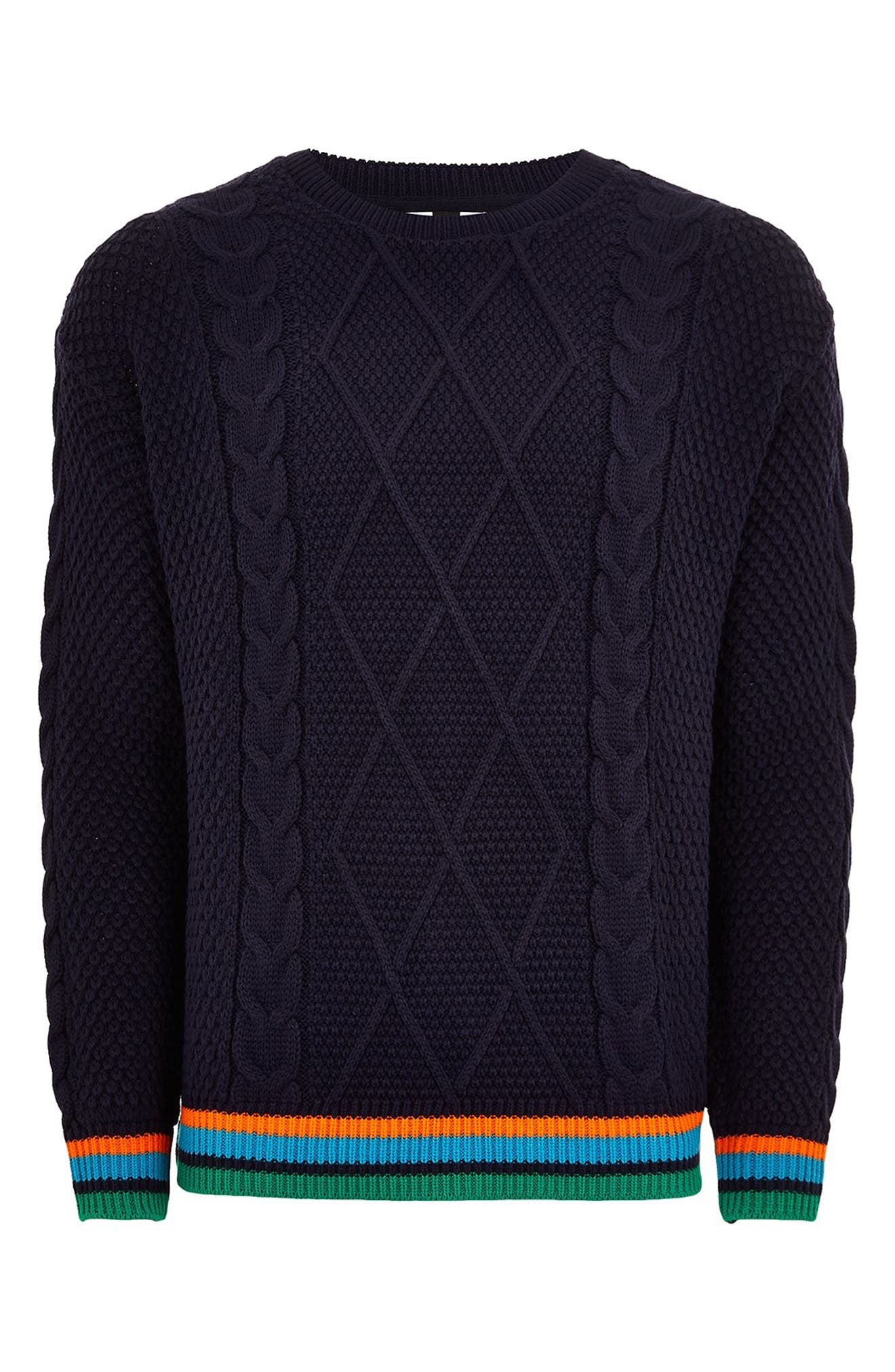 Classic Fit Cable Knit Sweater,                             Alternate thumbnail 4, color,                             411