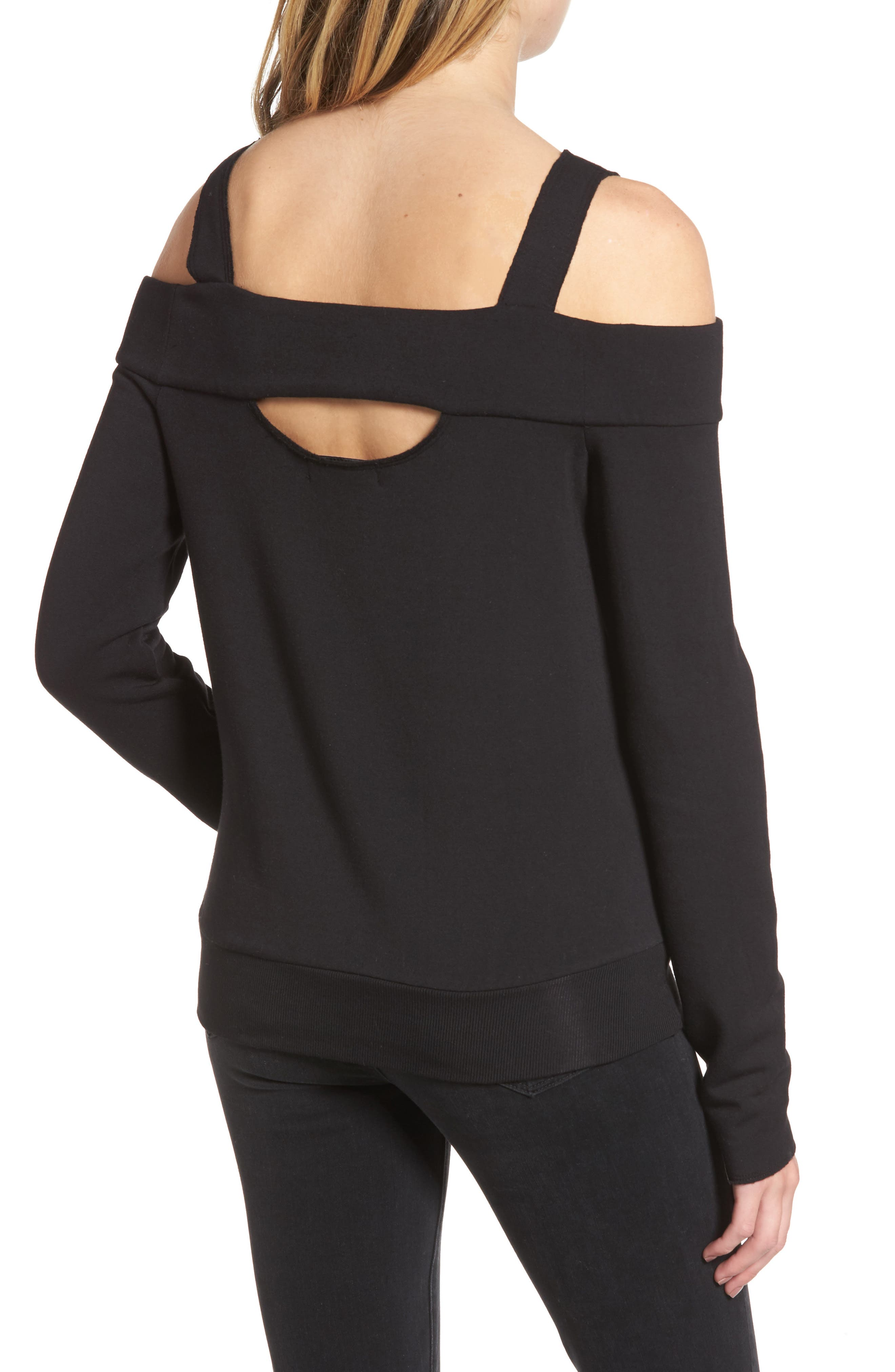 Ground Swell Cold Shoulder Sweatshirt,                             Alternate thumbnail 2, color,                             001