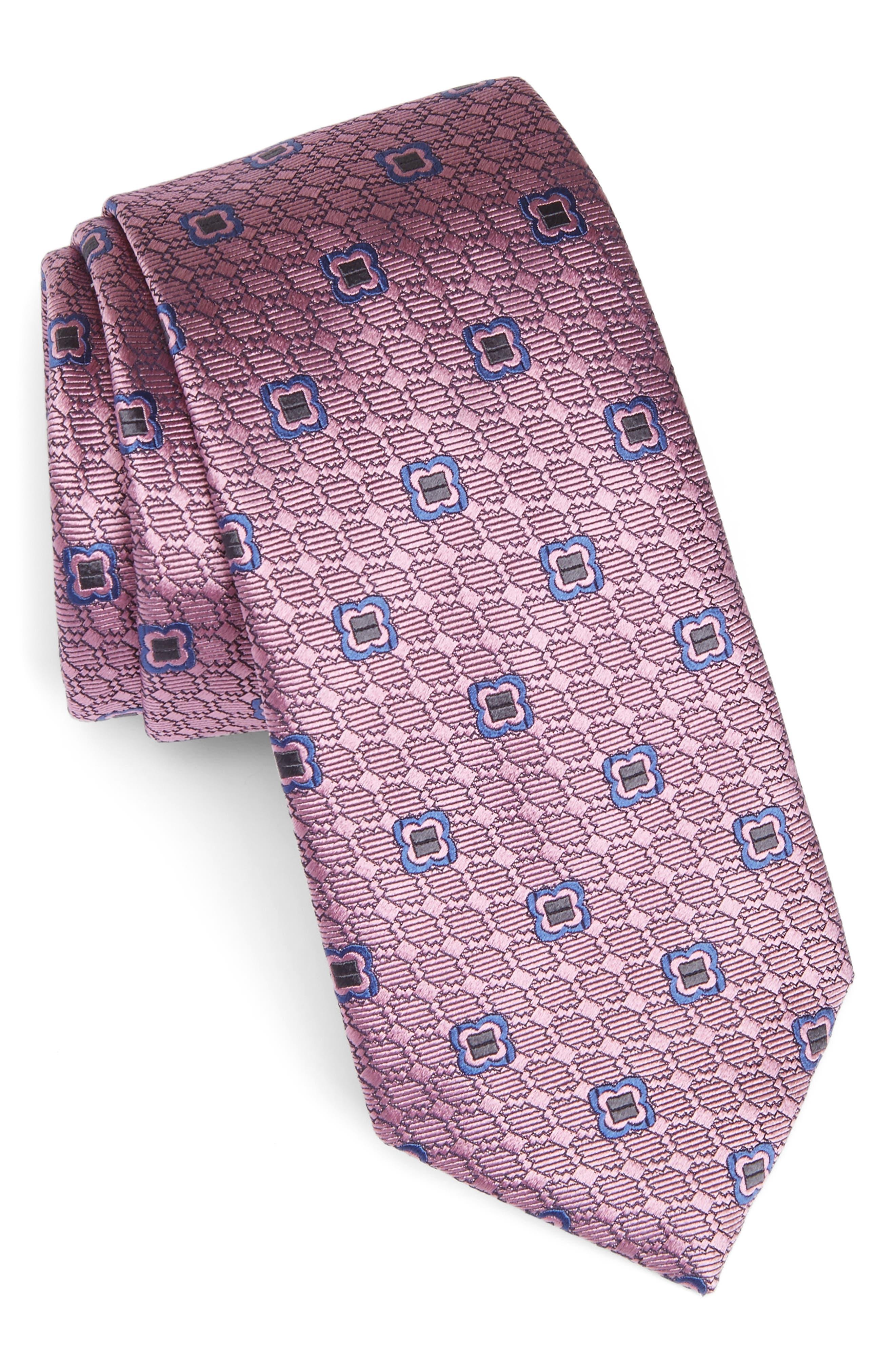 Geometric Silk Tie,                             Main thumbnail 1, color,                             662