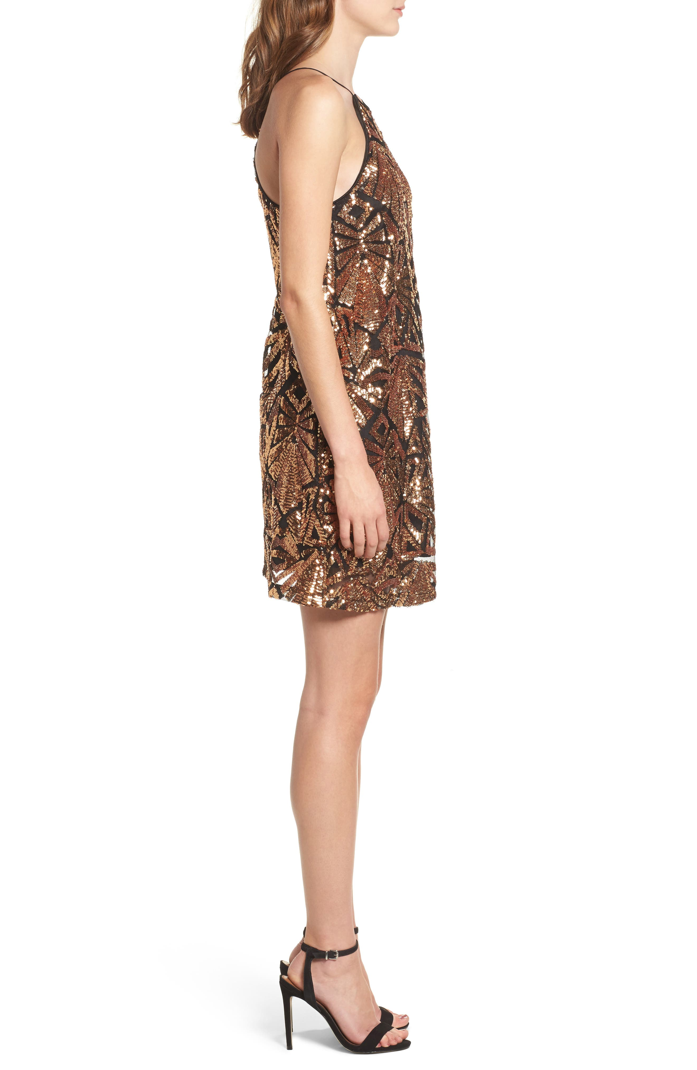 Sequined High Neck Dress,                             Alternate thumbnail 3, color,                             710
