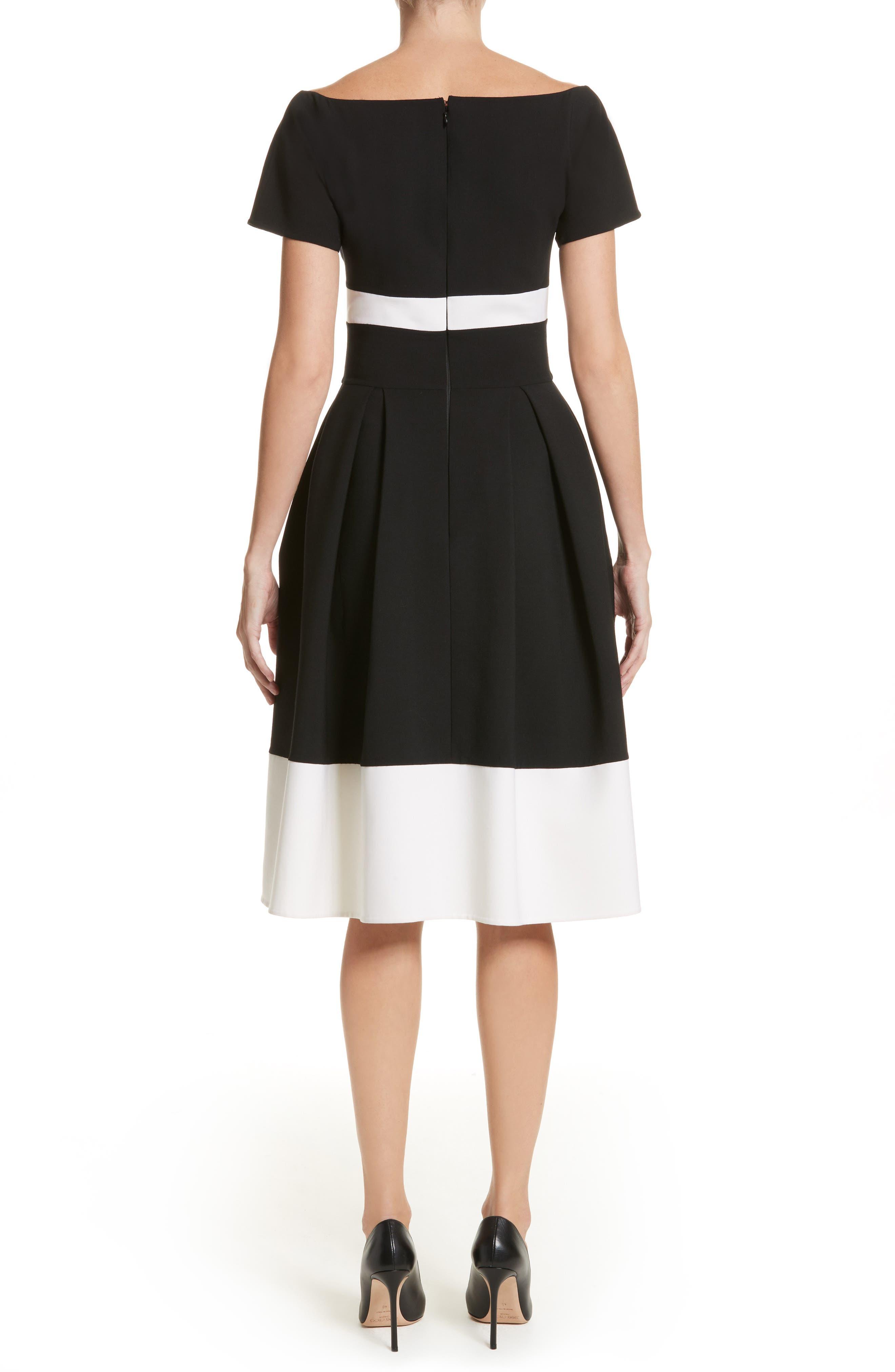 Colorblock Cap Sleeve Dress,                             Alternate thumbnail 2, color,                             001