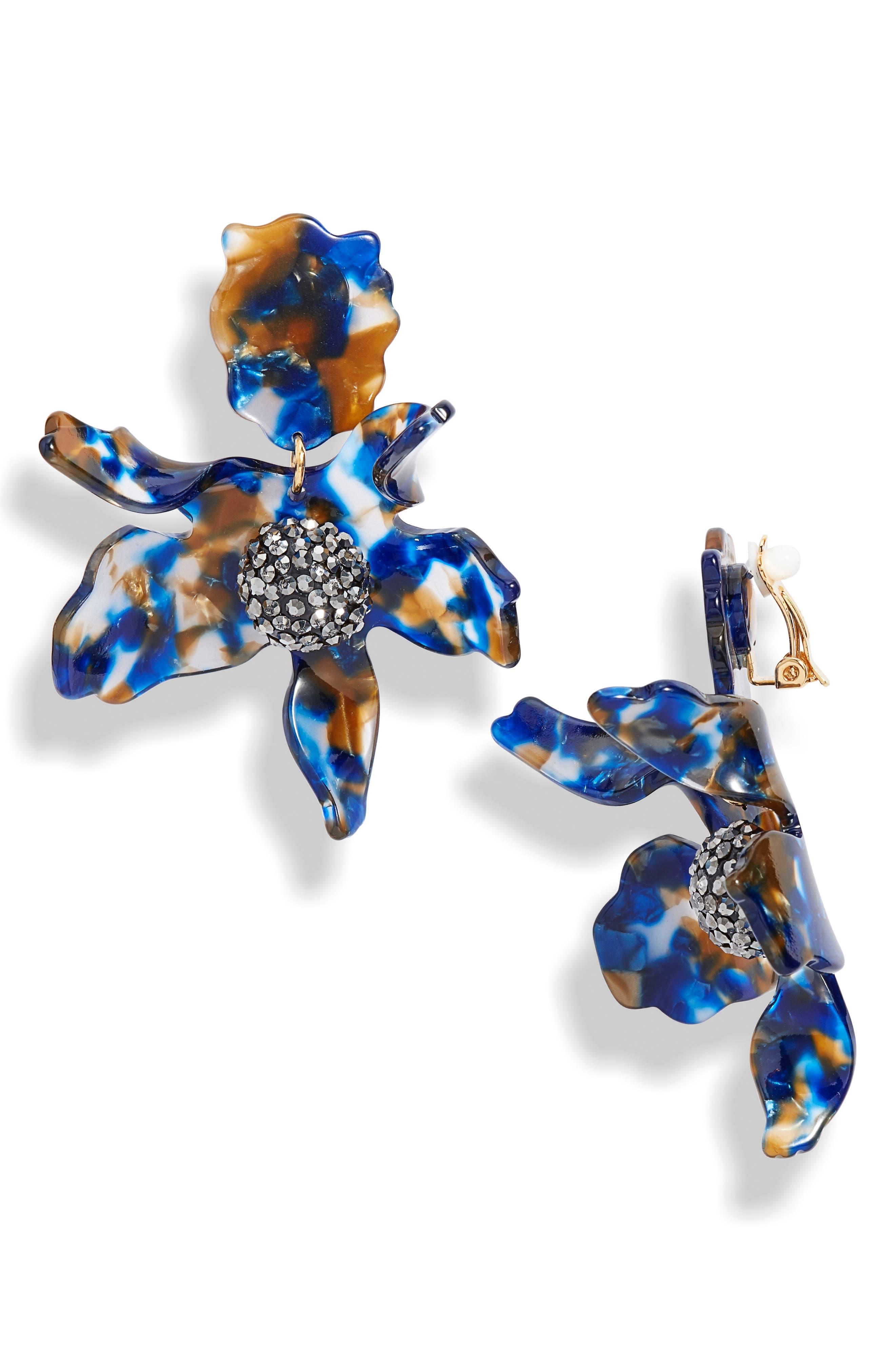 LELE SADOUGHI Crystal Lily Clip Earrings, Main, color, NIGHT STREAK