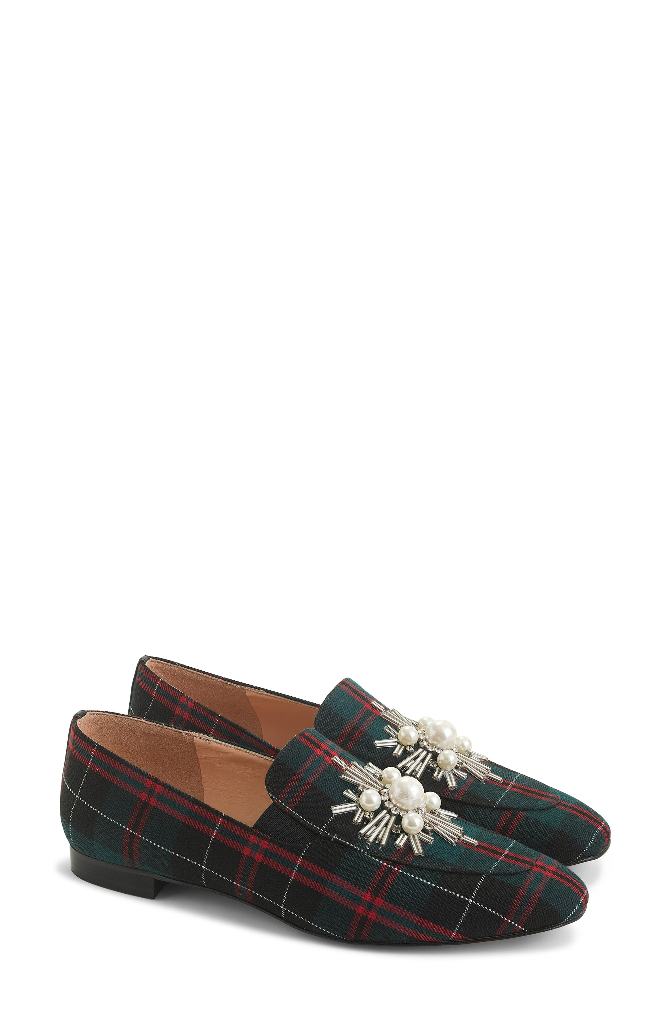 J. Crew Embellished Plaid Janie Loafer,                             Main thumbnail 1, color,                             GREEN PLAID FABRIC