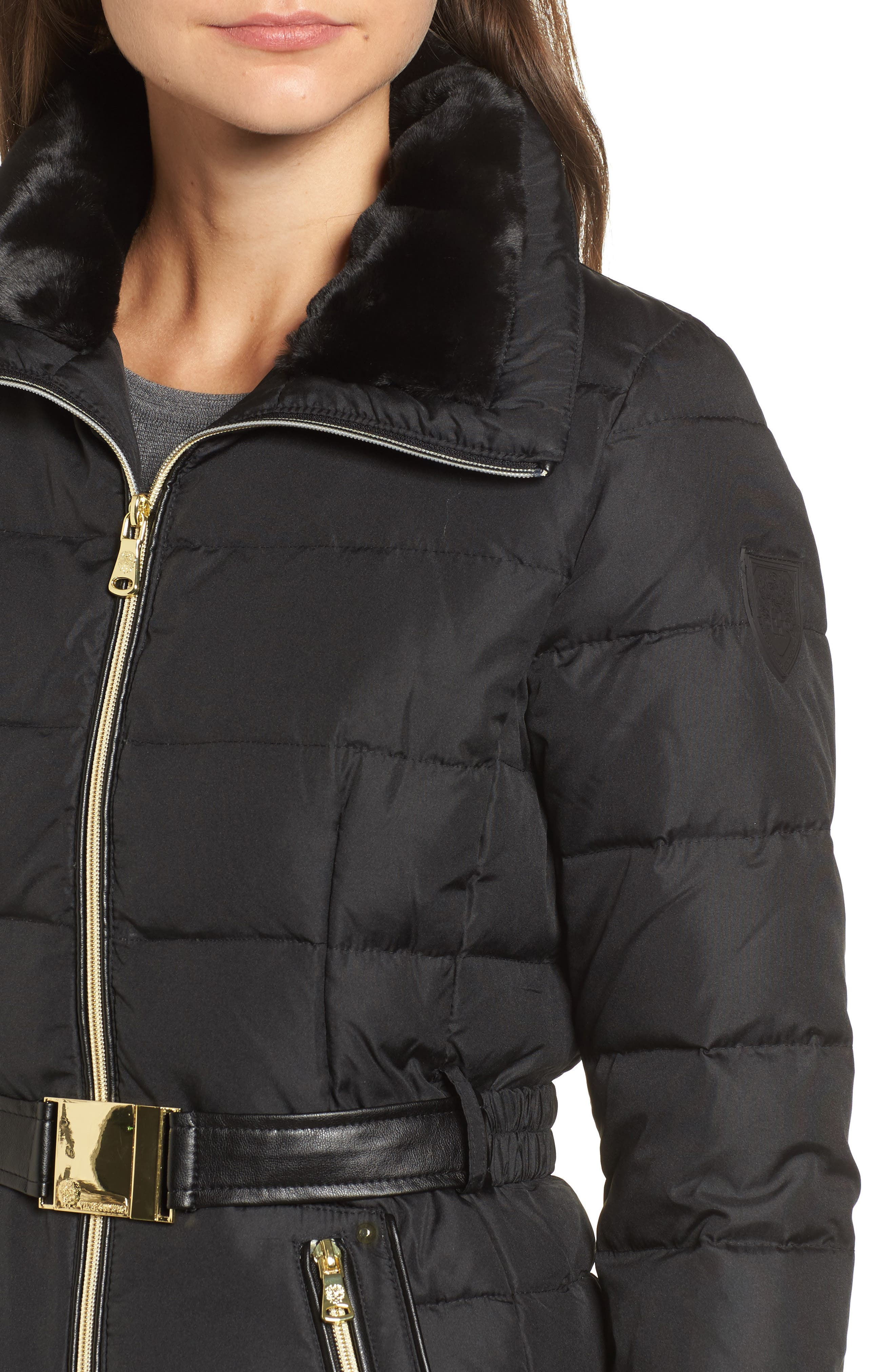 Belted Down & Feather Jacket with Faux Fur,                             Alternate thumbnail 4, color,                             001