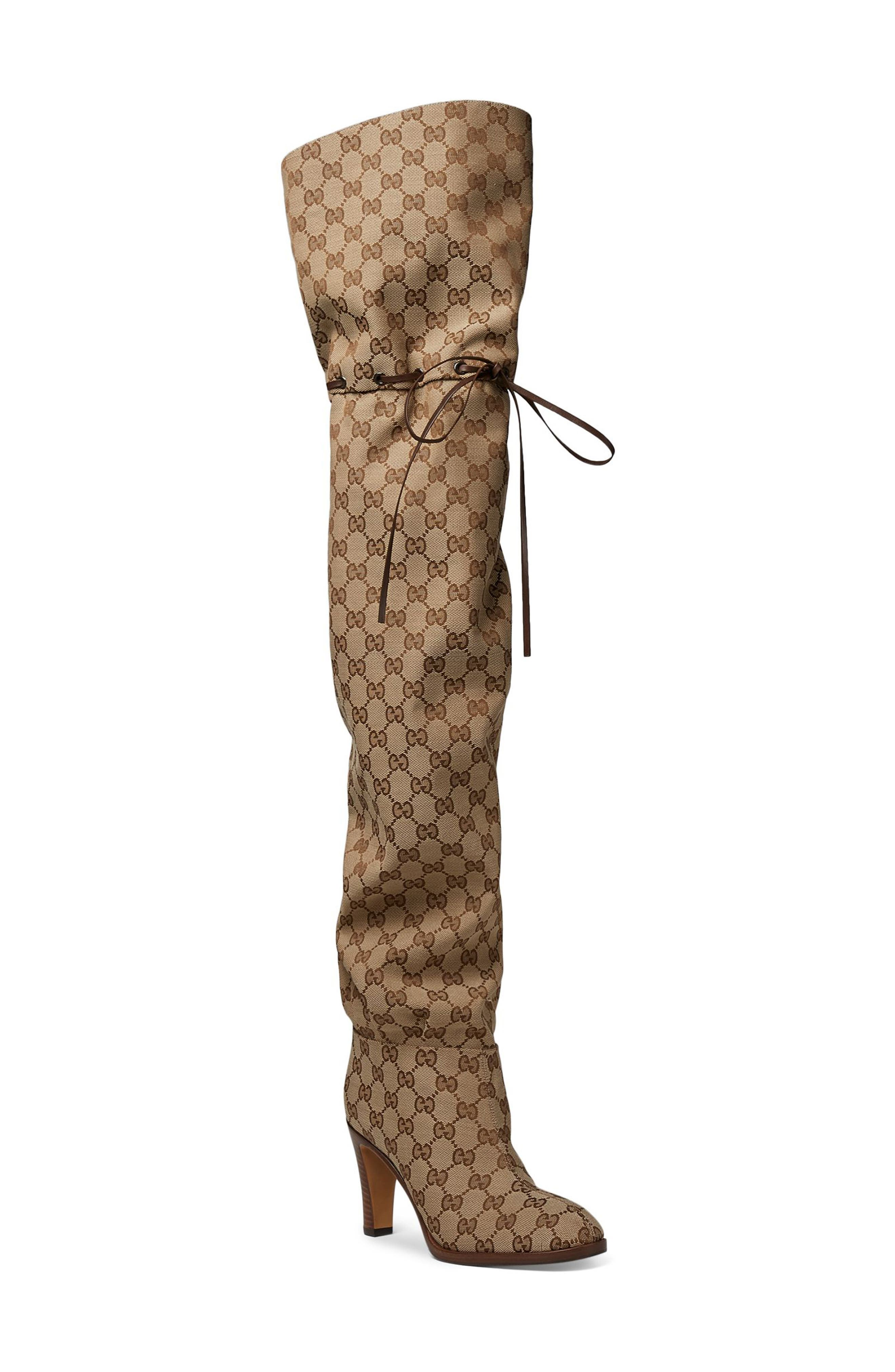 Original GG Canvas Over the Knee Boot,                         Main,                         color, BEIGE