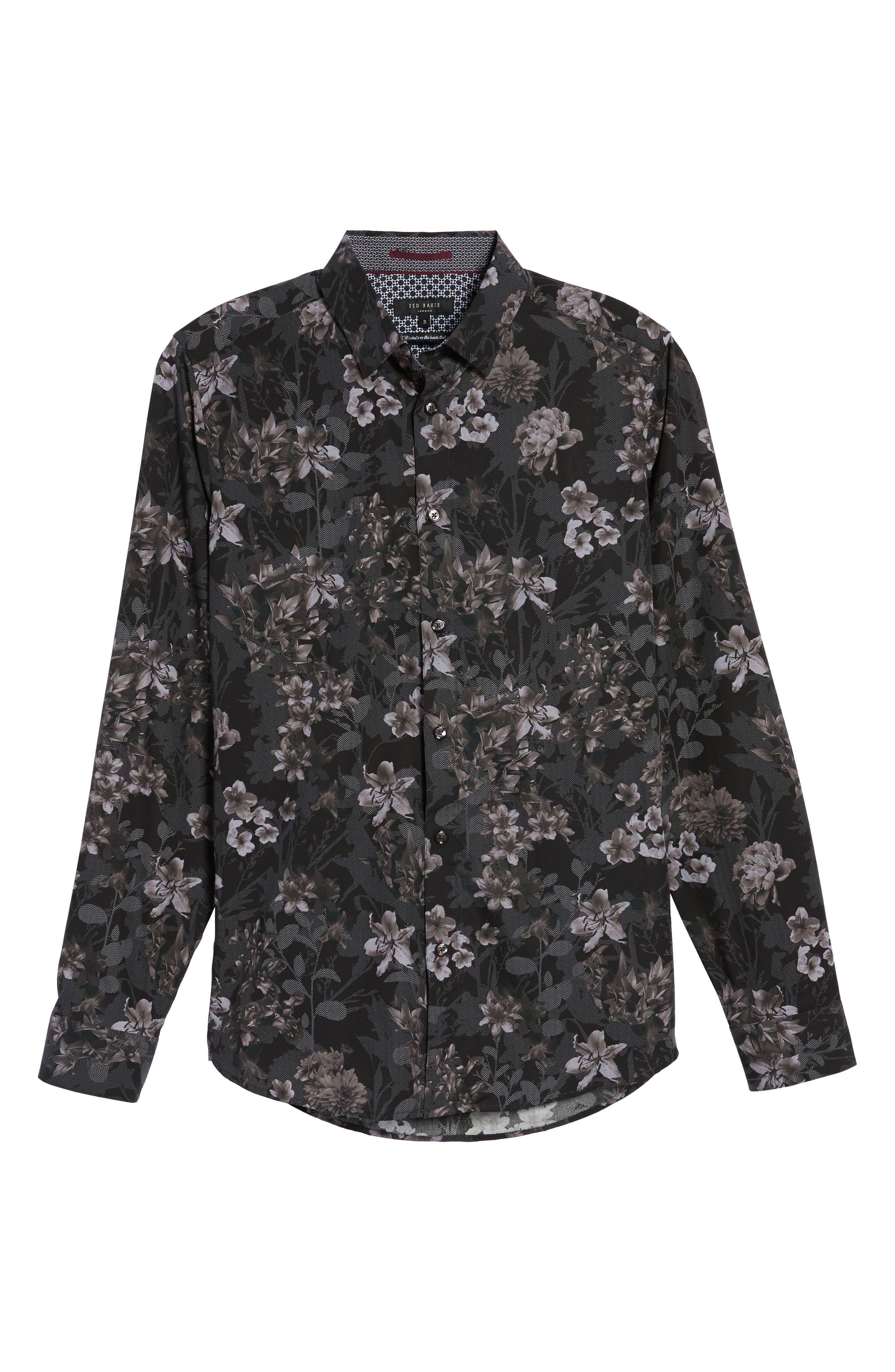 Ted Baker Konkord Slim Fit Floral Print Sport Shirt,                             Alternate thumbnail 6, color,                             001