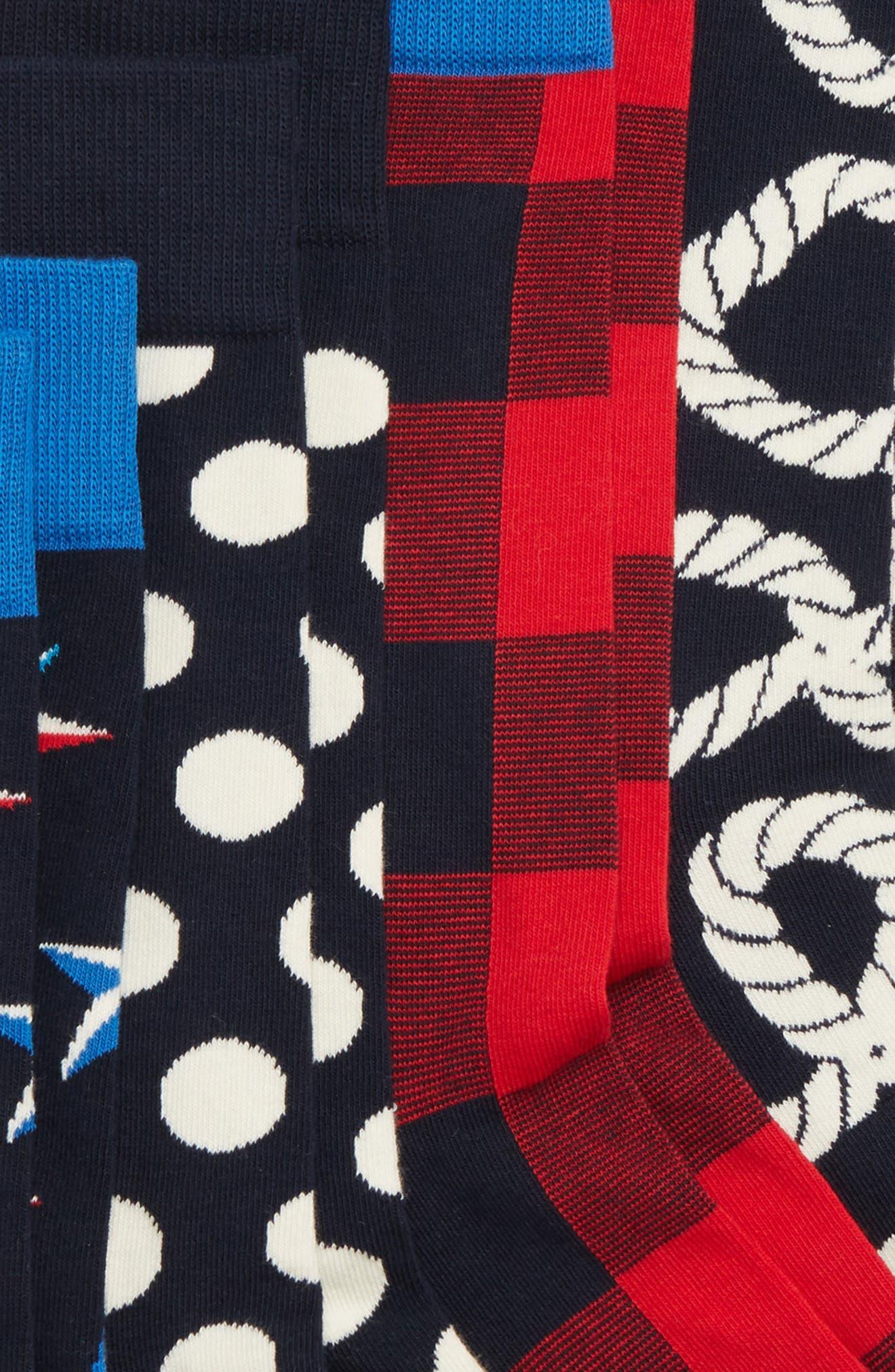 Nautical 4-Pack Box Set Socks,                             Alternate thumbnail 2, color,                             NAVY/ RED/ WHITE