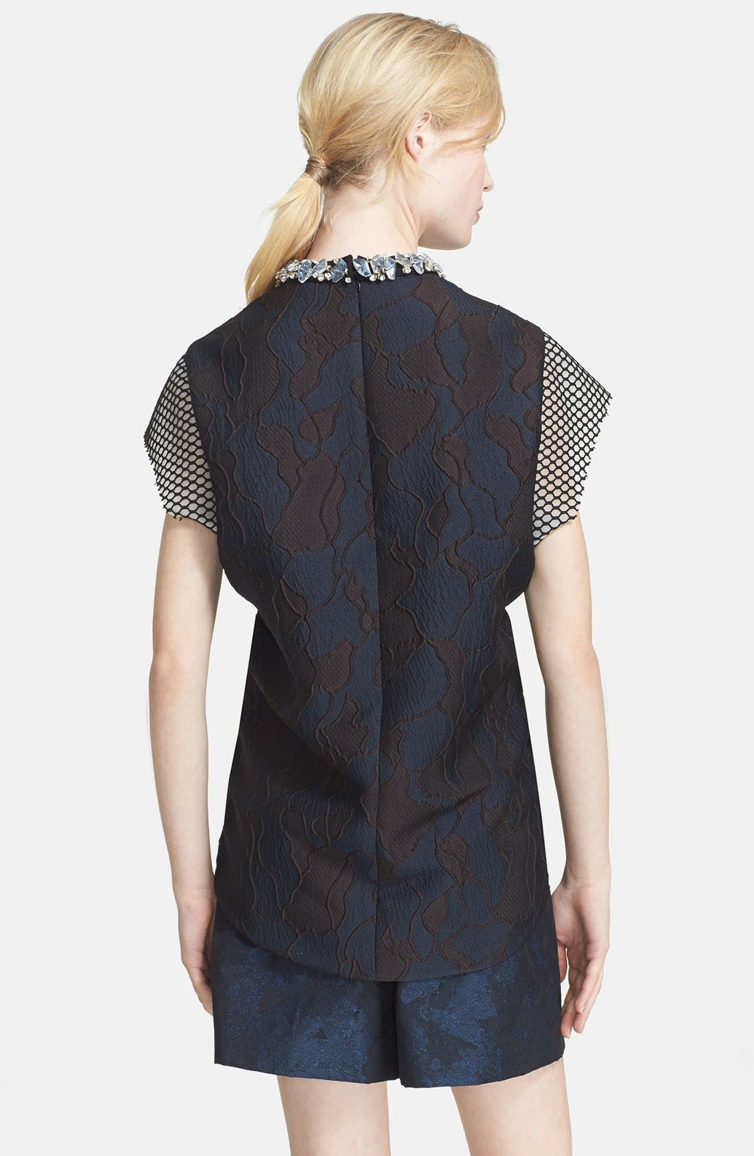 3.1 PHILLIP LIM,                             Mesh Inset Top with Crystal Rocks Neckline,                             Alternate thumbnail 2, color,                             440