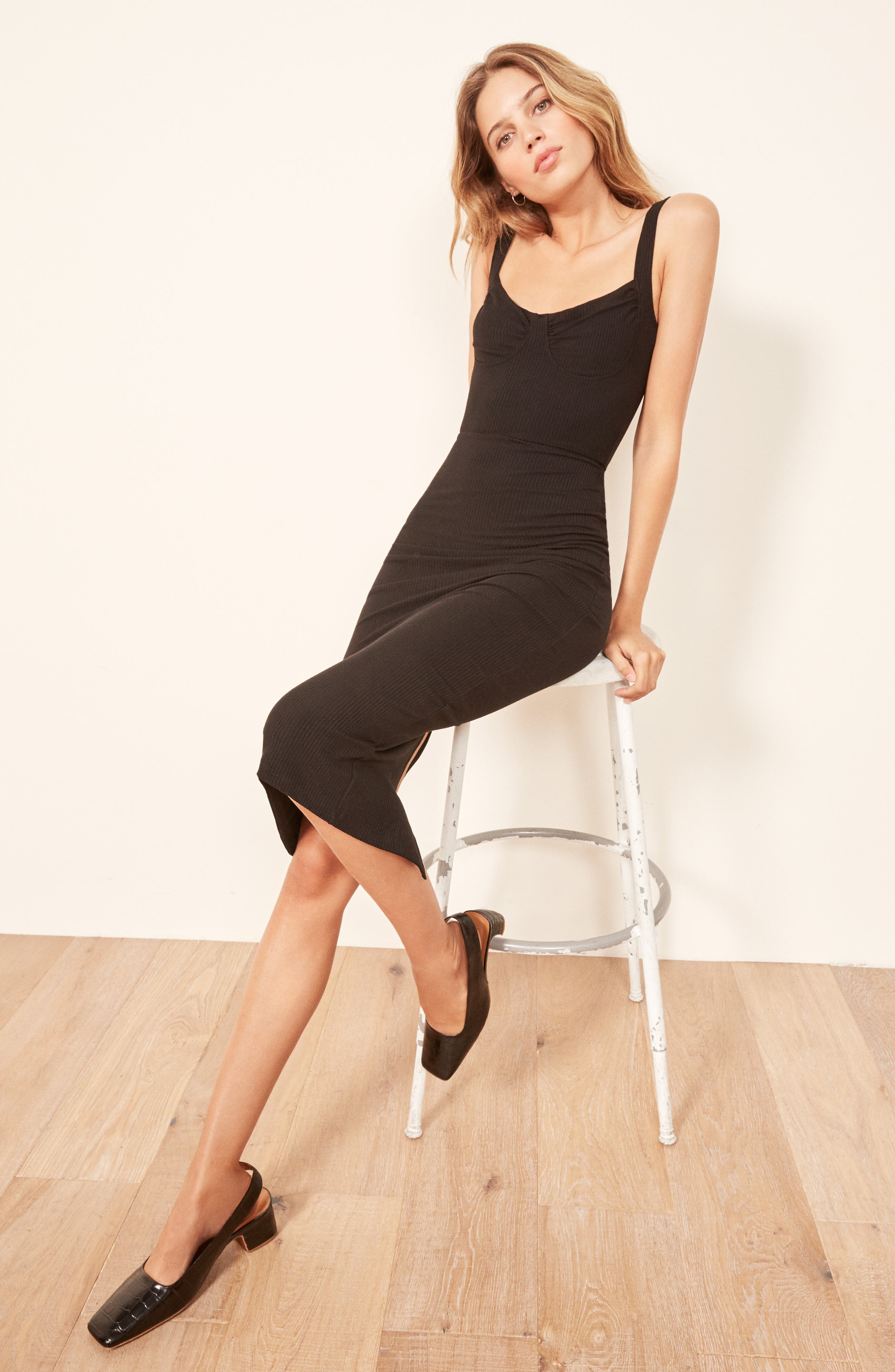 REFORMATION,                             Adrian Sweetheart Neck Body-Con Dress,                             Alternate thumbnail 2, color,                             001