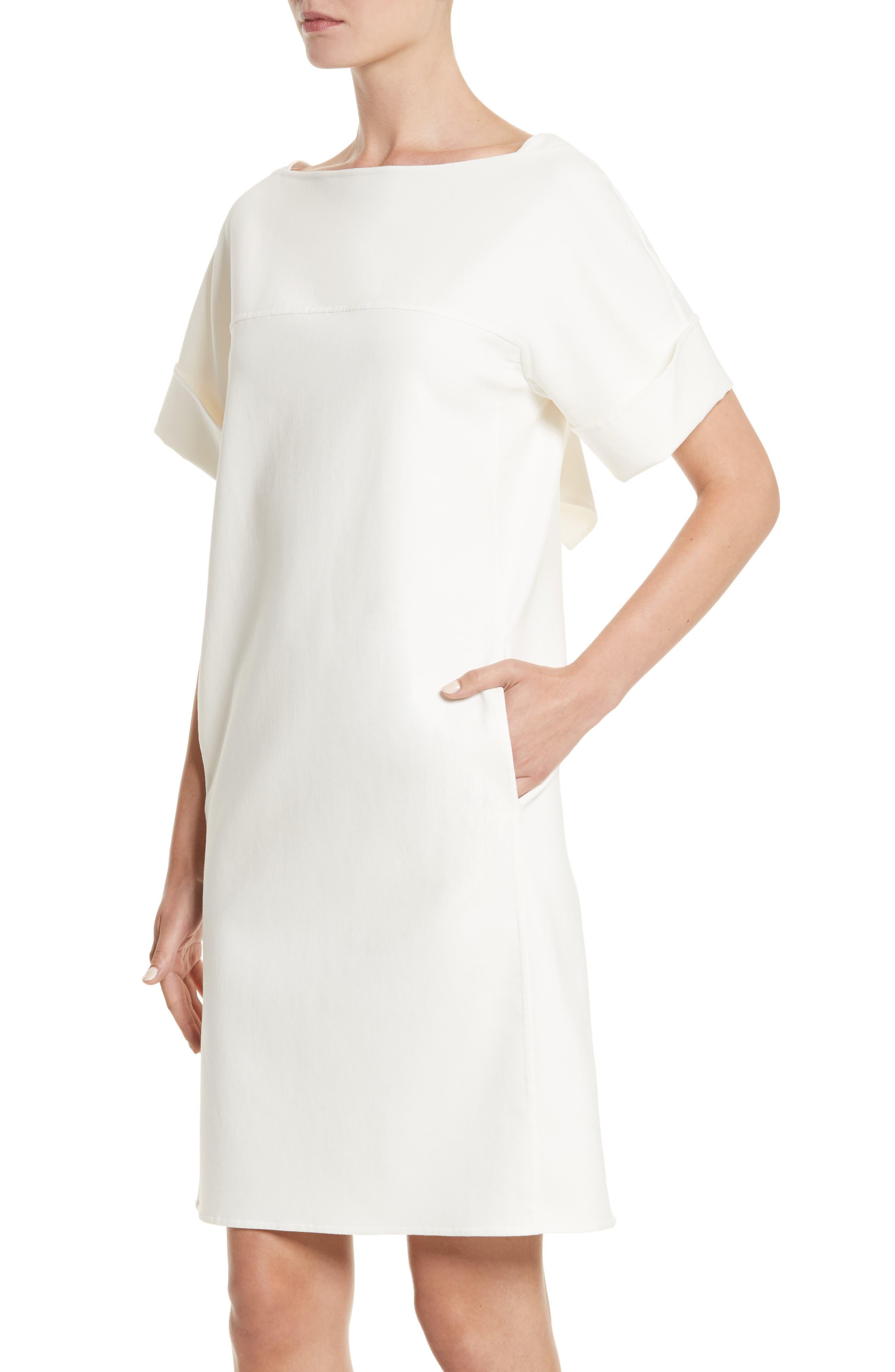 Double Face Stretch Cotton Back Tie Dress,                             Alternate thumbnail 4, color,                             900
