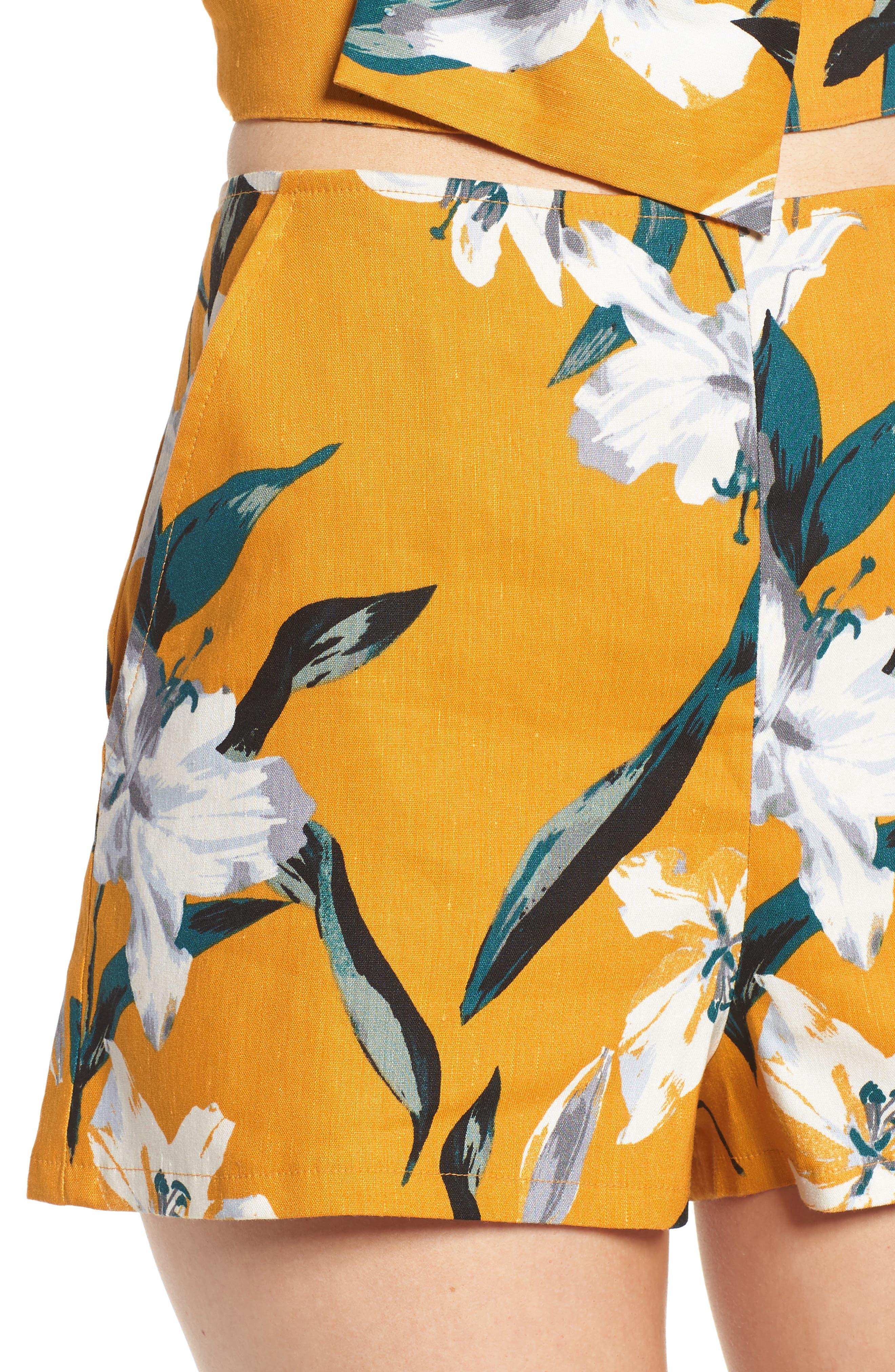 High Waist Linen Blend Shorts,                             Alternate thumbnail 18, color,