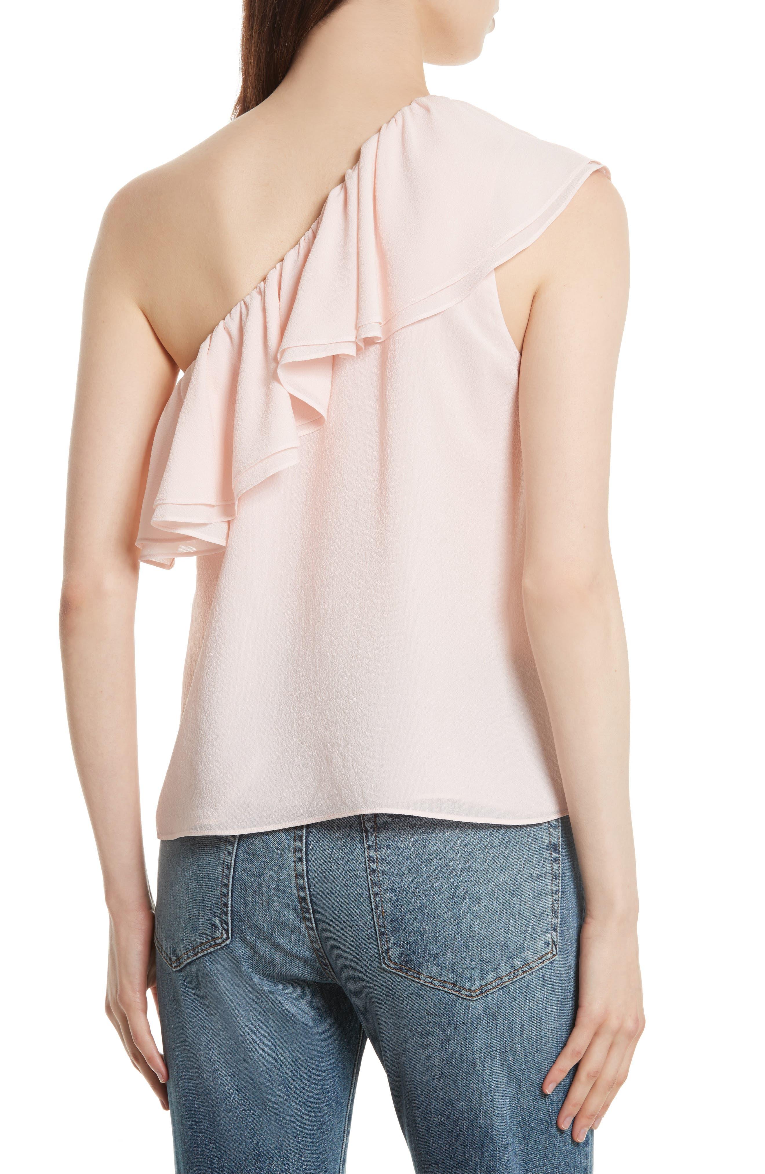 One-Shoulder Silk Top,                             Alternate thumbnail 2, color,                             652