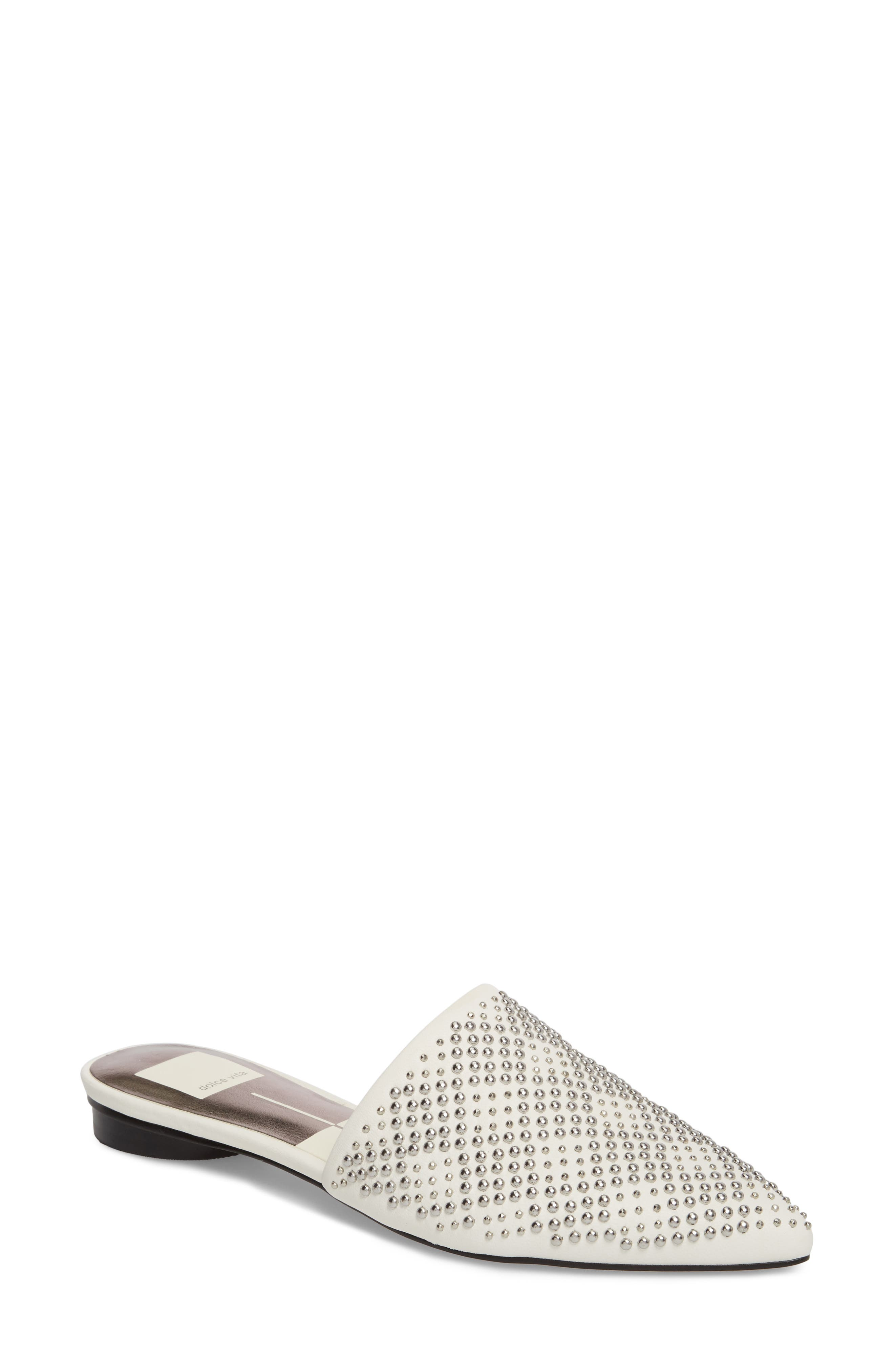 Elvah Studded Mule,                             Main thumbnail 1, color,                             OFF WHITE LEATHER STUDS
