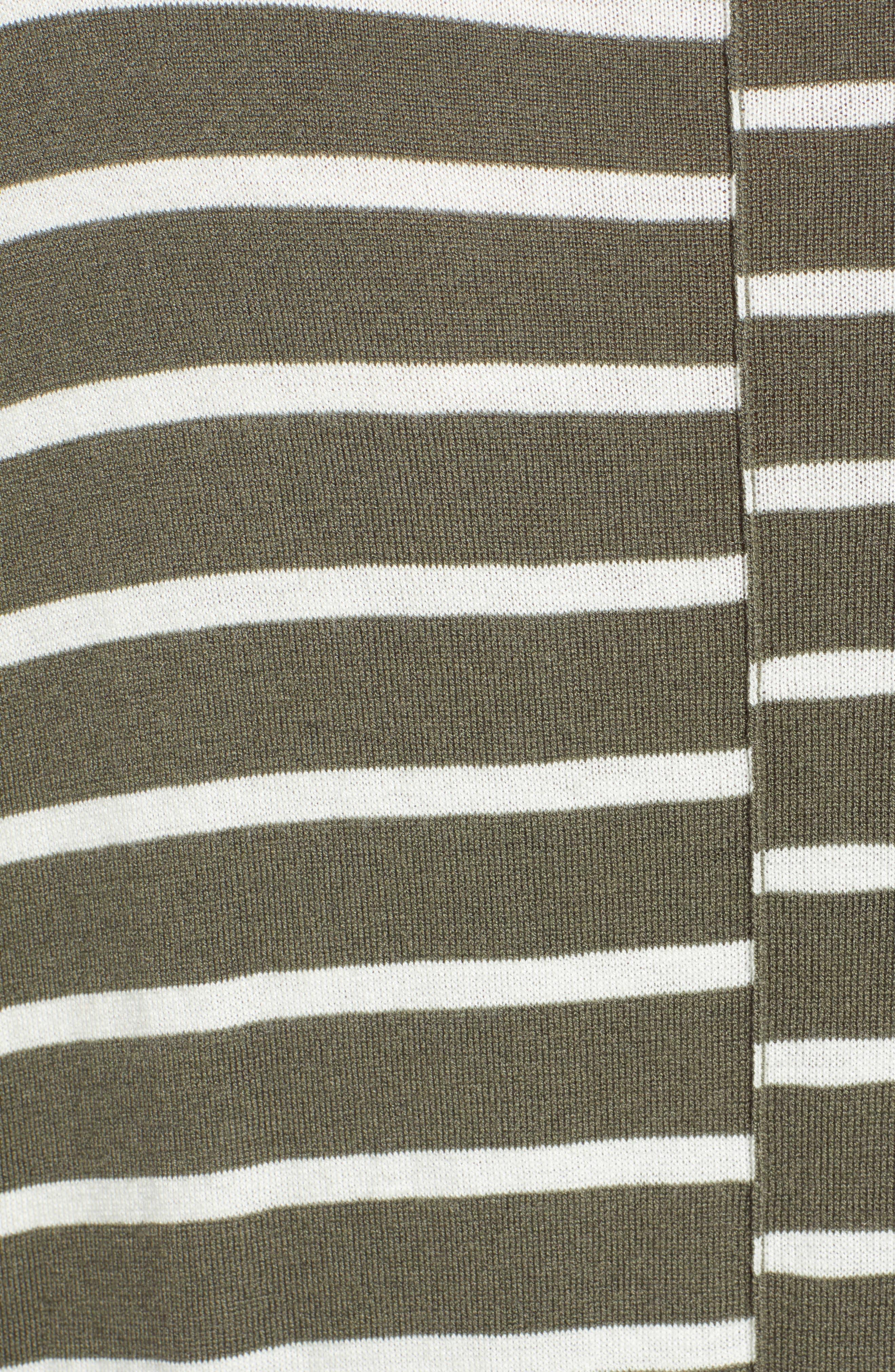 High-Low V-neck Sweater,                             Alternate thumbnail 5, color,                             GREEN- IVORY PRITHI STRIPE