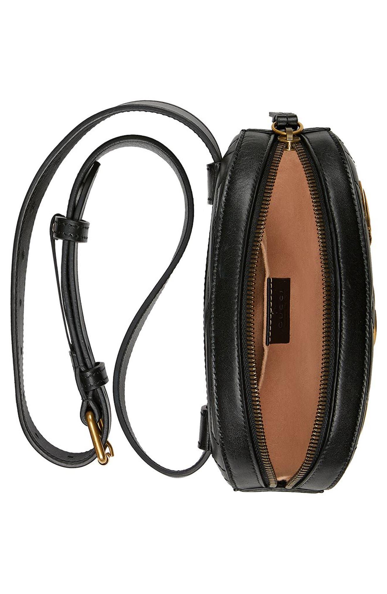 GG Marmont 2.0 Animal Stud Matelassé Leather Belt Bag,                             Alternate thumbnail 3, color,                             001