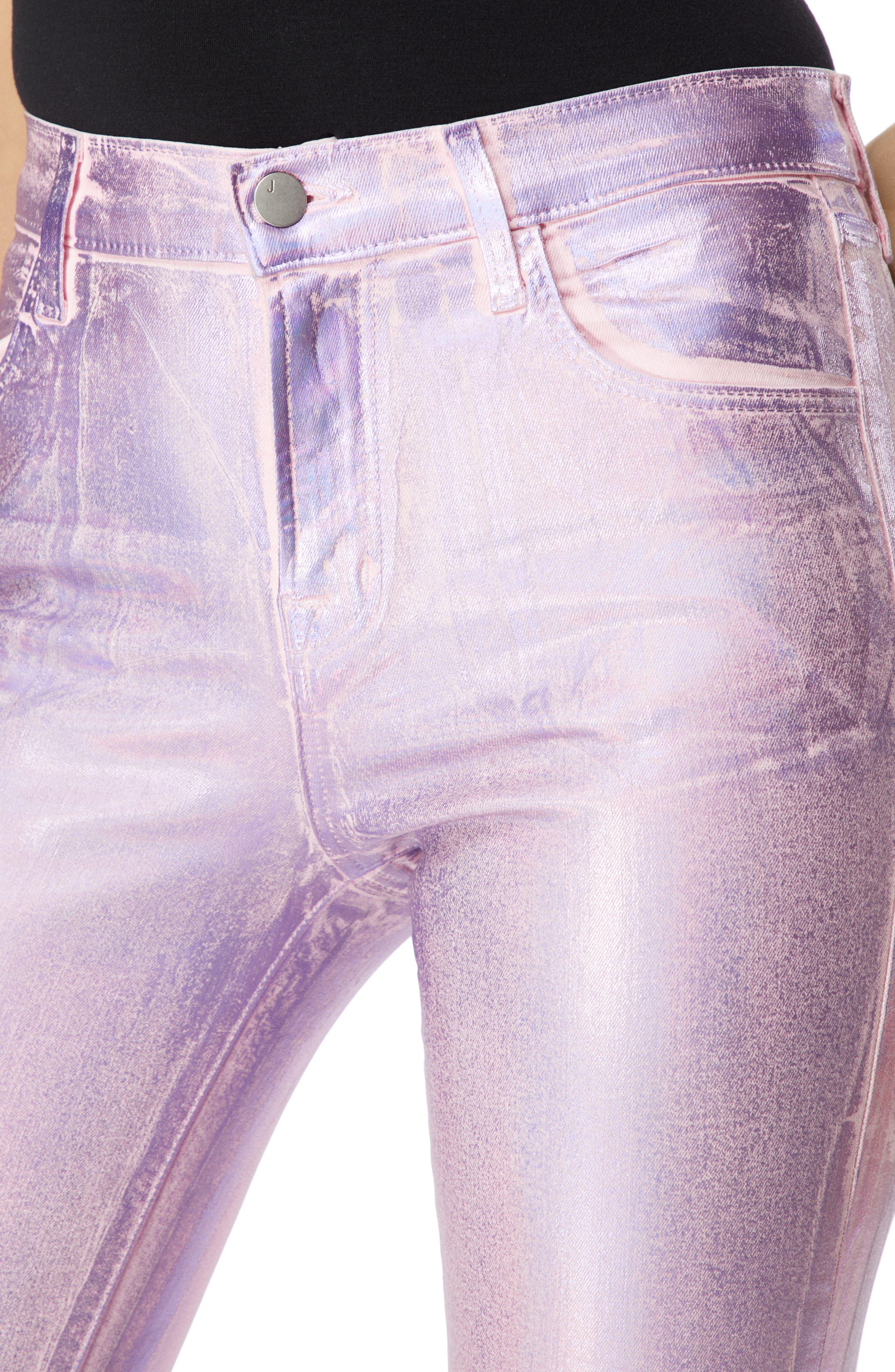 Alana High Waist Crop Skinny Jeans,                             Alternate thumbnail 4, color,                             PINK PRISM