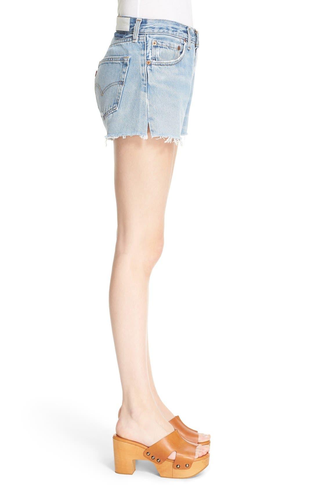 'The Short' Reconstructed Denim Shorts,                             Alternate thumbnail 3, color,