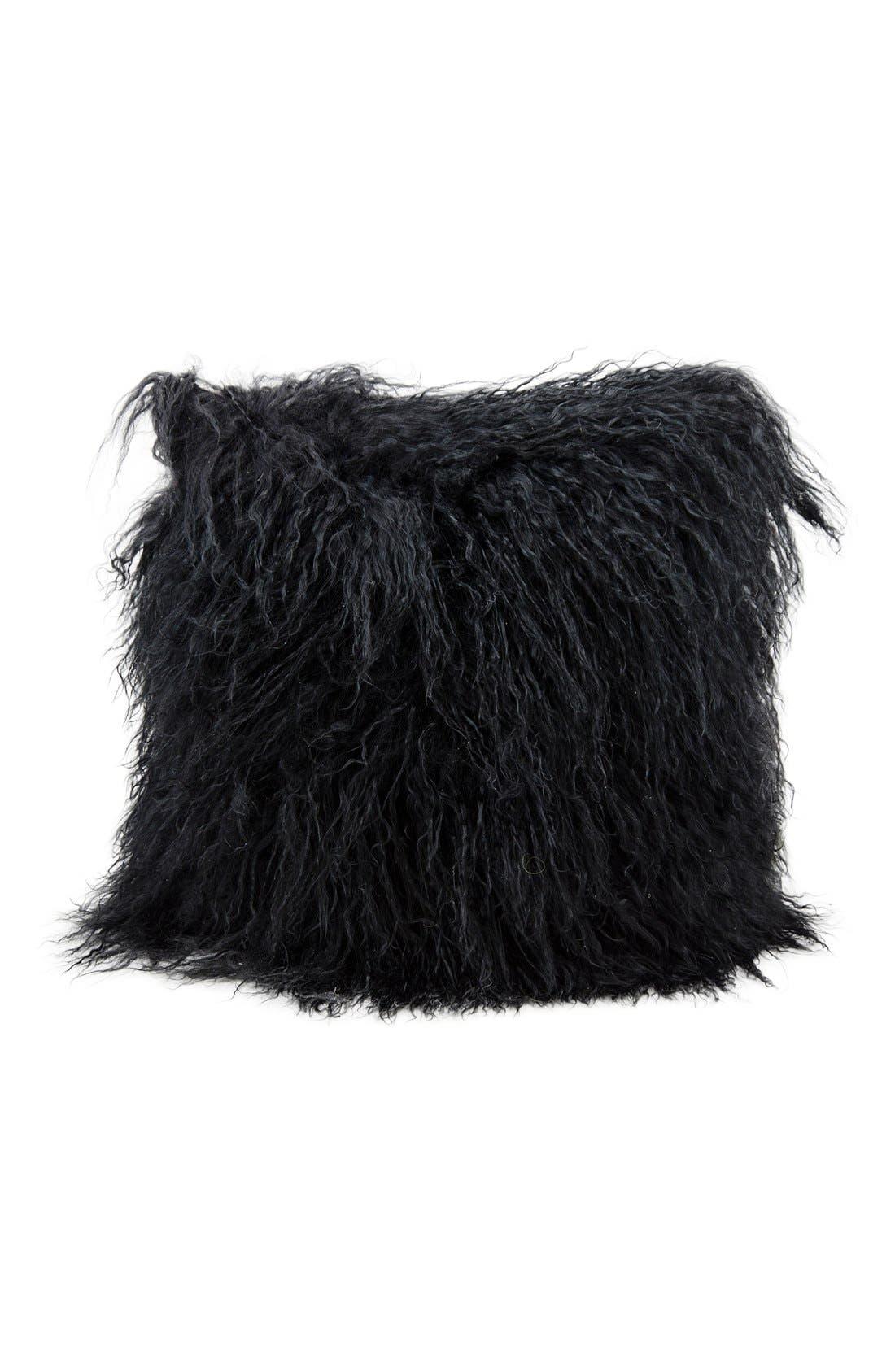Genuine Tibetan Shearling Pillow, Main, color, BLACK