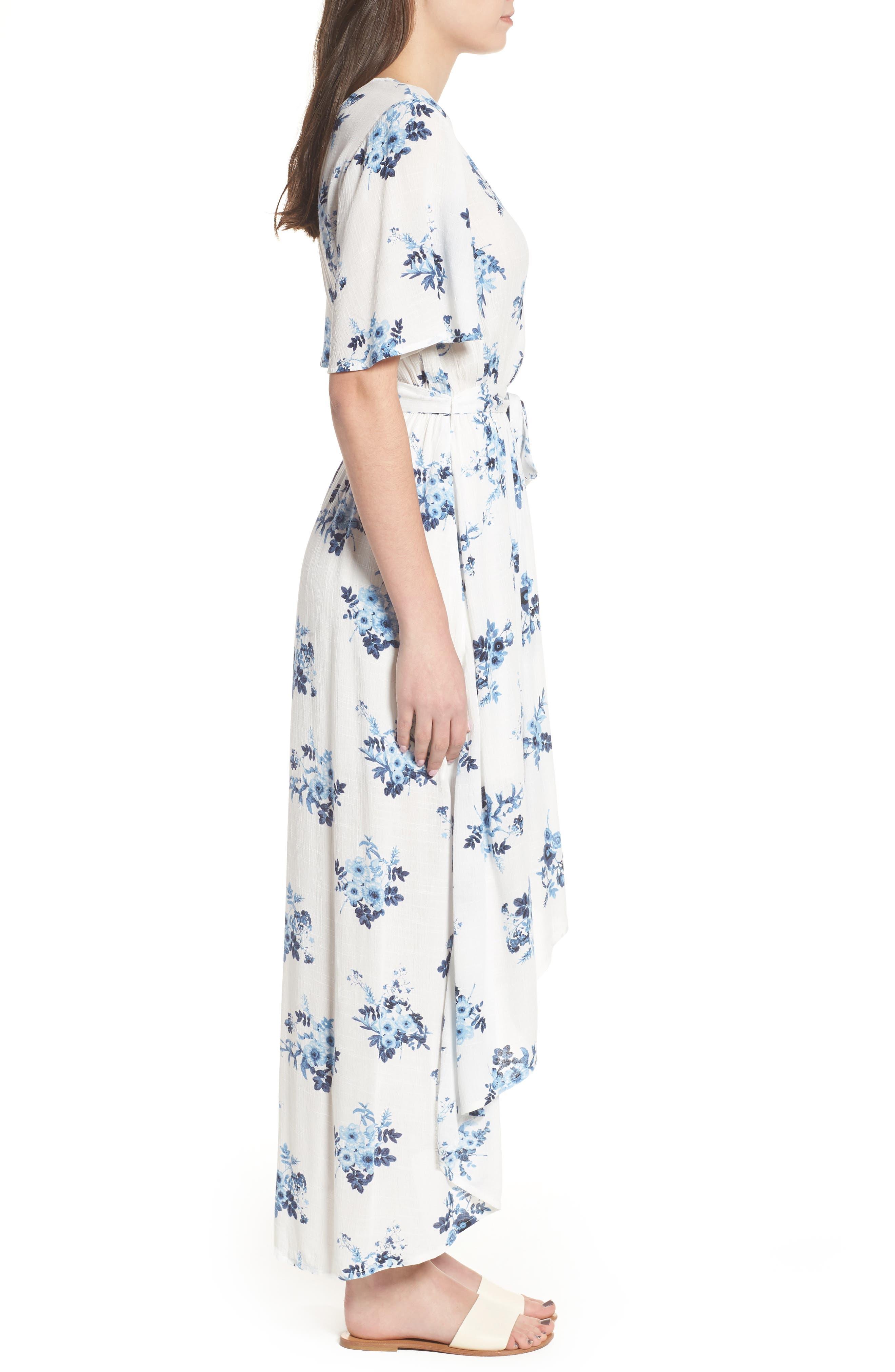 Floral Midi Wrap Dress,                             Alternate thumbnail 3, color,