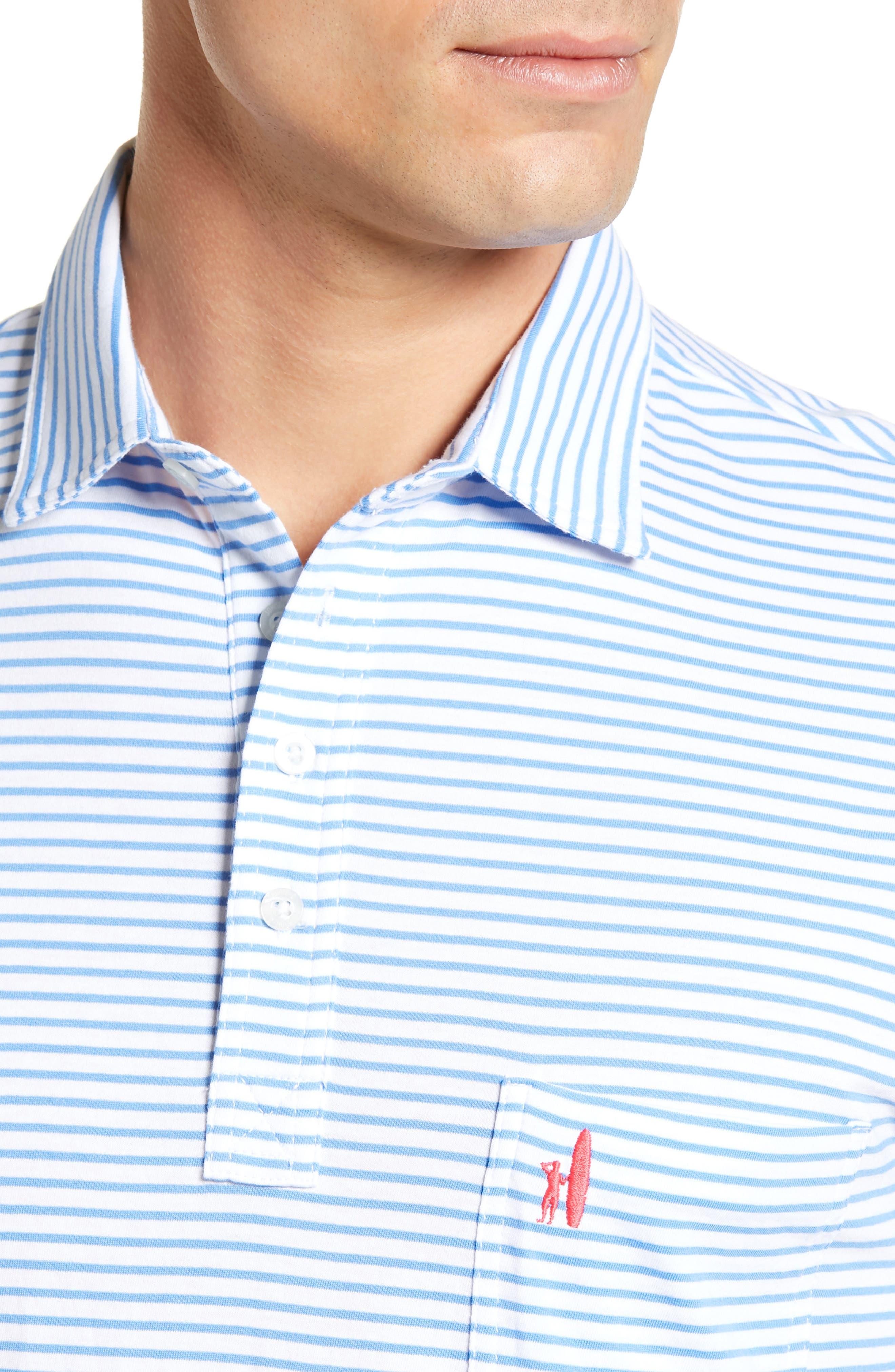 Macon Regular Fit Stripe Polo,                             Alternate thumbnail 4, color,                             WHITE