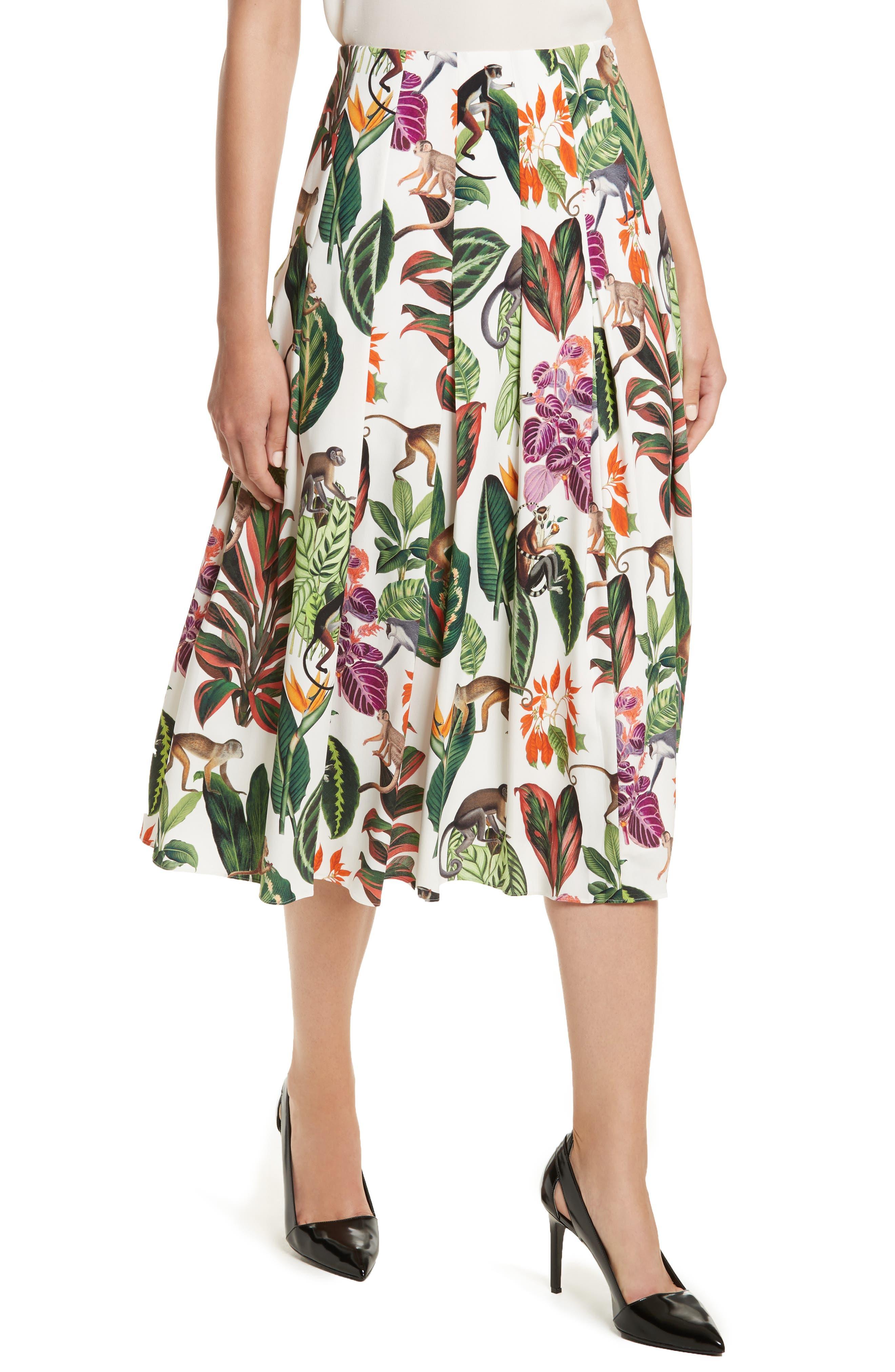 Jungle Print Pleated Stretch Silk Skirt,                             Alternate thumbnail 4, color,                             300