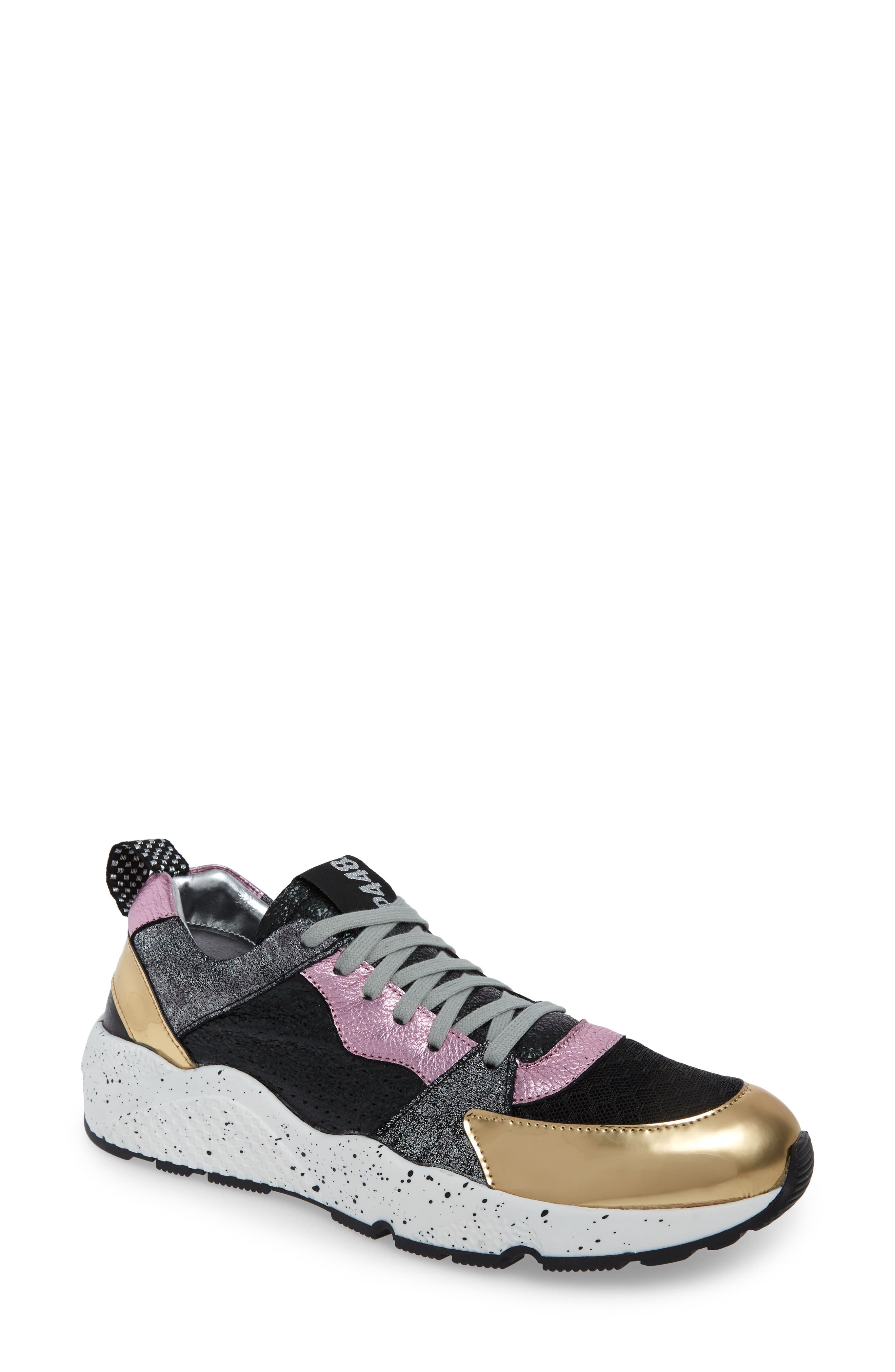 P448 Women'S Alex Mixed Leather Lace-Up Sneakers in Pink/ Black Shine