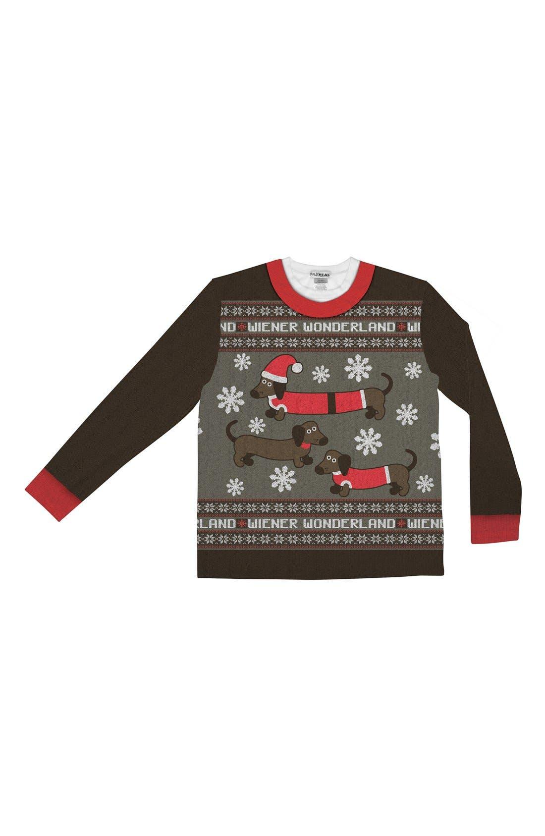 FAUX REAL,                             'Wiener Wonderland' Ugly Christmas Long Sleeve Novelty T-Shirt,                             Alternate thumbnail 3, color,                             200