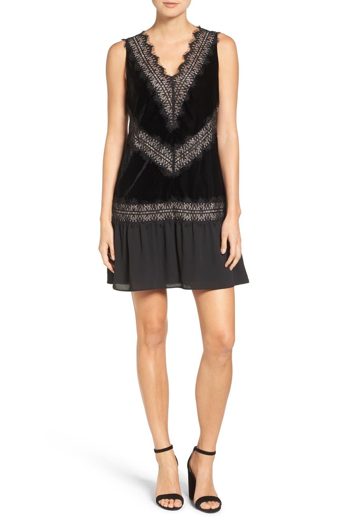 Velvet & Lace Dress,                         Main,                         color,