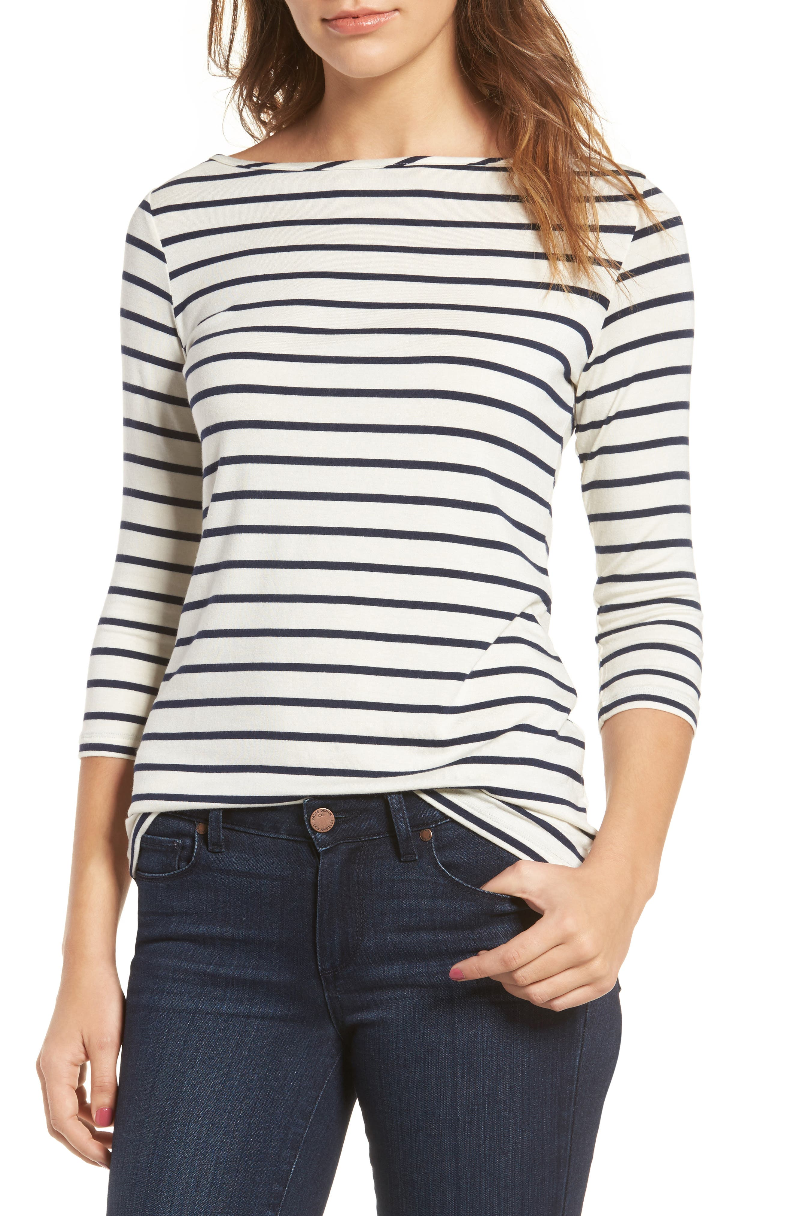 Francoise Stretch Jersey Top,                             Main thumbnail 1, color,                             MARINE STRIPE
