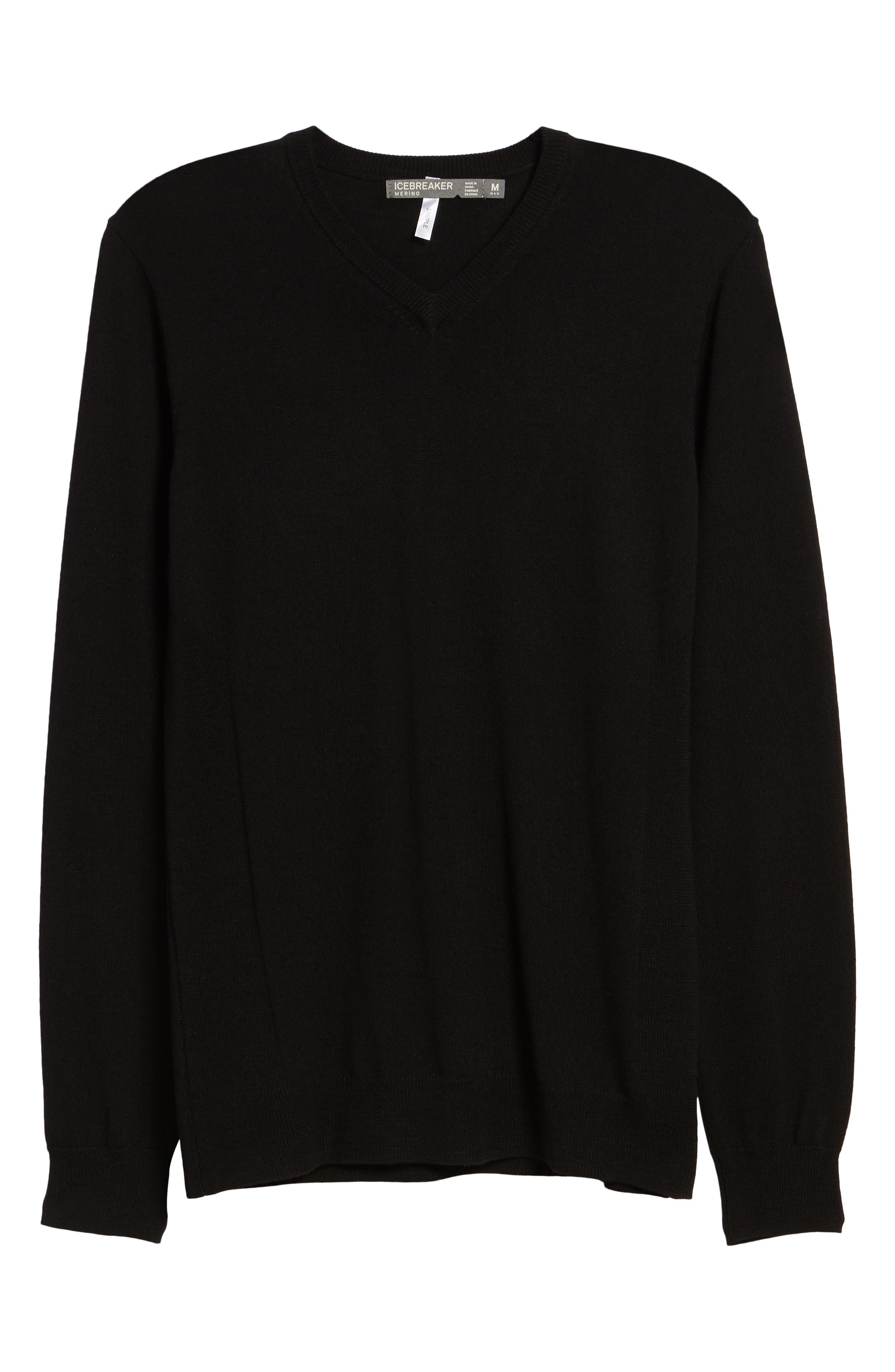 Shearer V-Neck Merino Sweater,                             Alternate thumbnail 6, color,                             BLACK