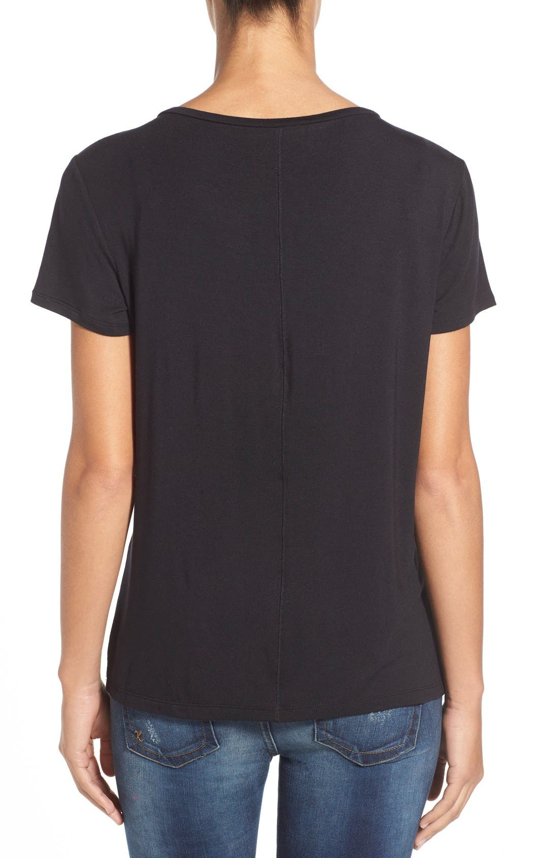 Modal Jersey V-Neck Tee,                             Alternate thumbnail 3, color,                             BLACK