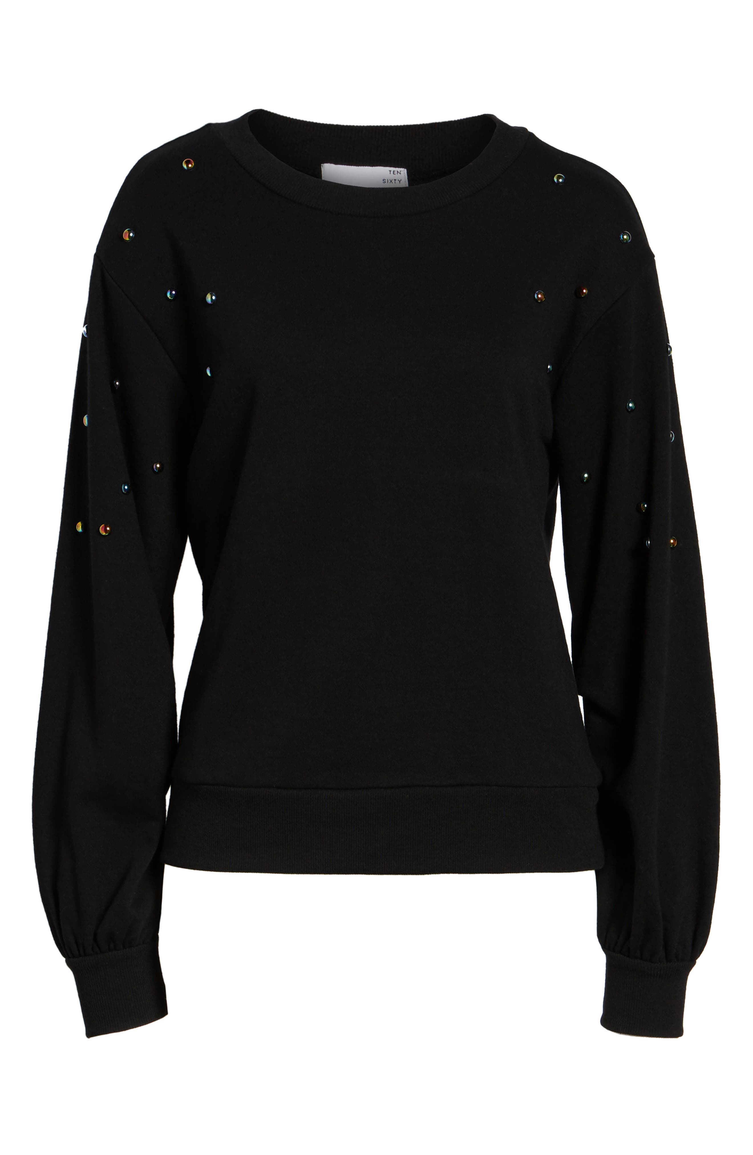 Studded Bell Sleeve Pullover,                             Alternate thumbnail 6, color,                             001