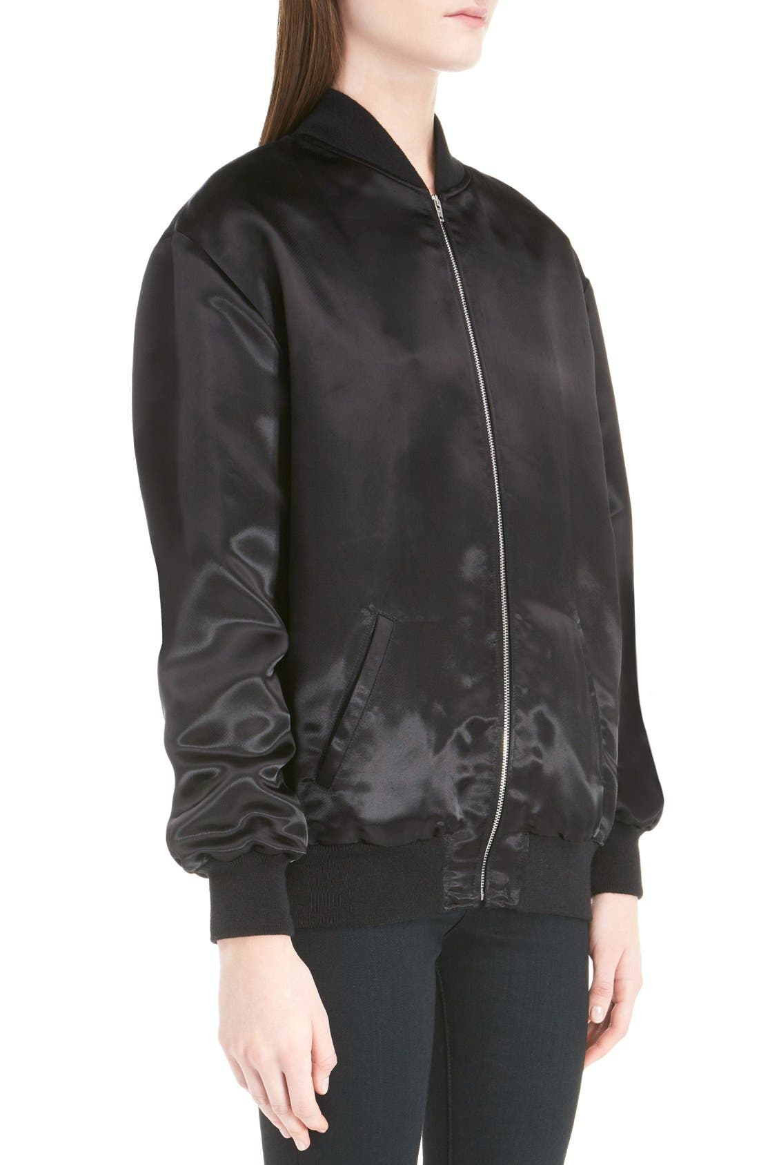 'Teddy' Oversize Patch Satin Bomber Jacket,                             Alternate thumbnail 5, color,                             001