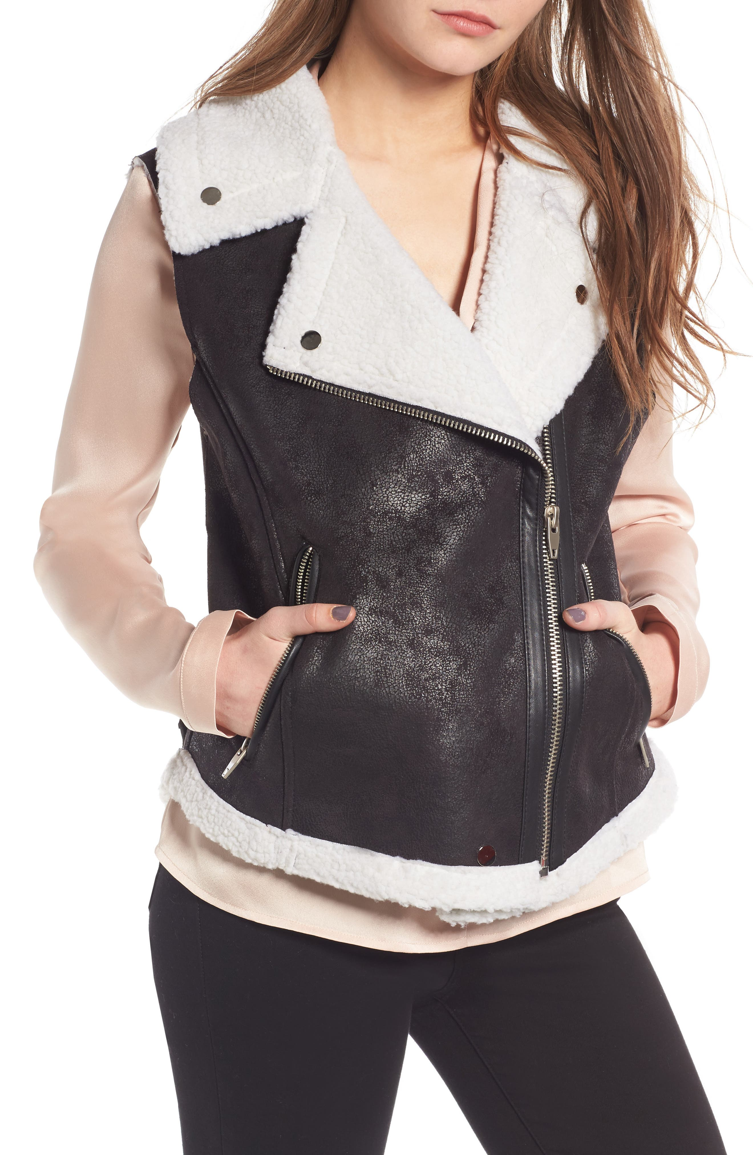 Faux Shearling Moto Vest,                             Alternate thumbnail 4, color,                             001