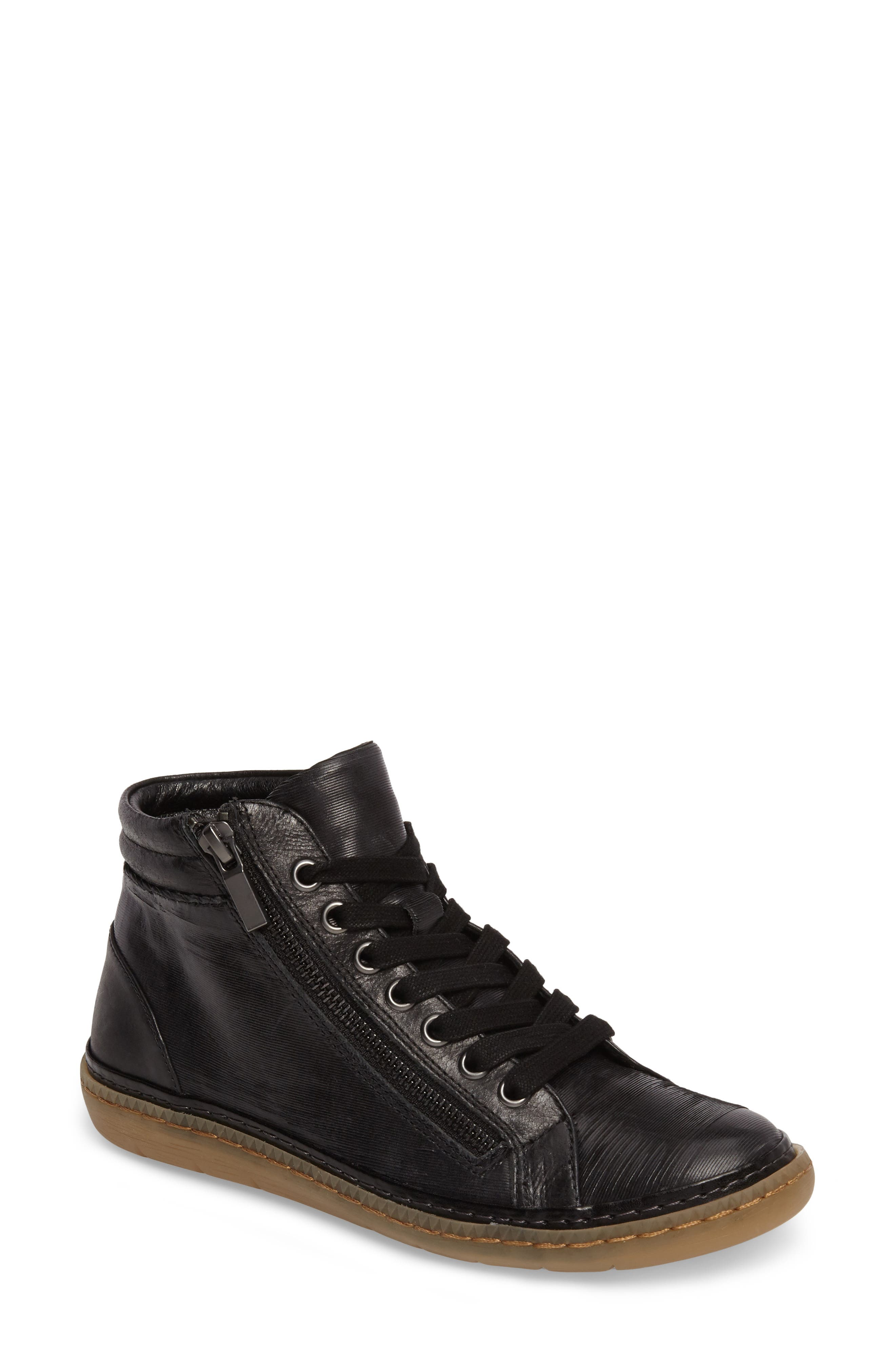 Annaleigh High Top Sneaker,                         Main,                         color, BLACK LEATHER