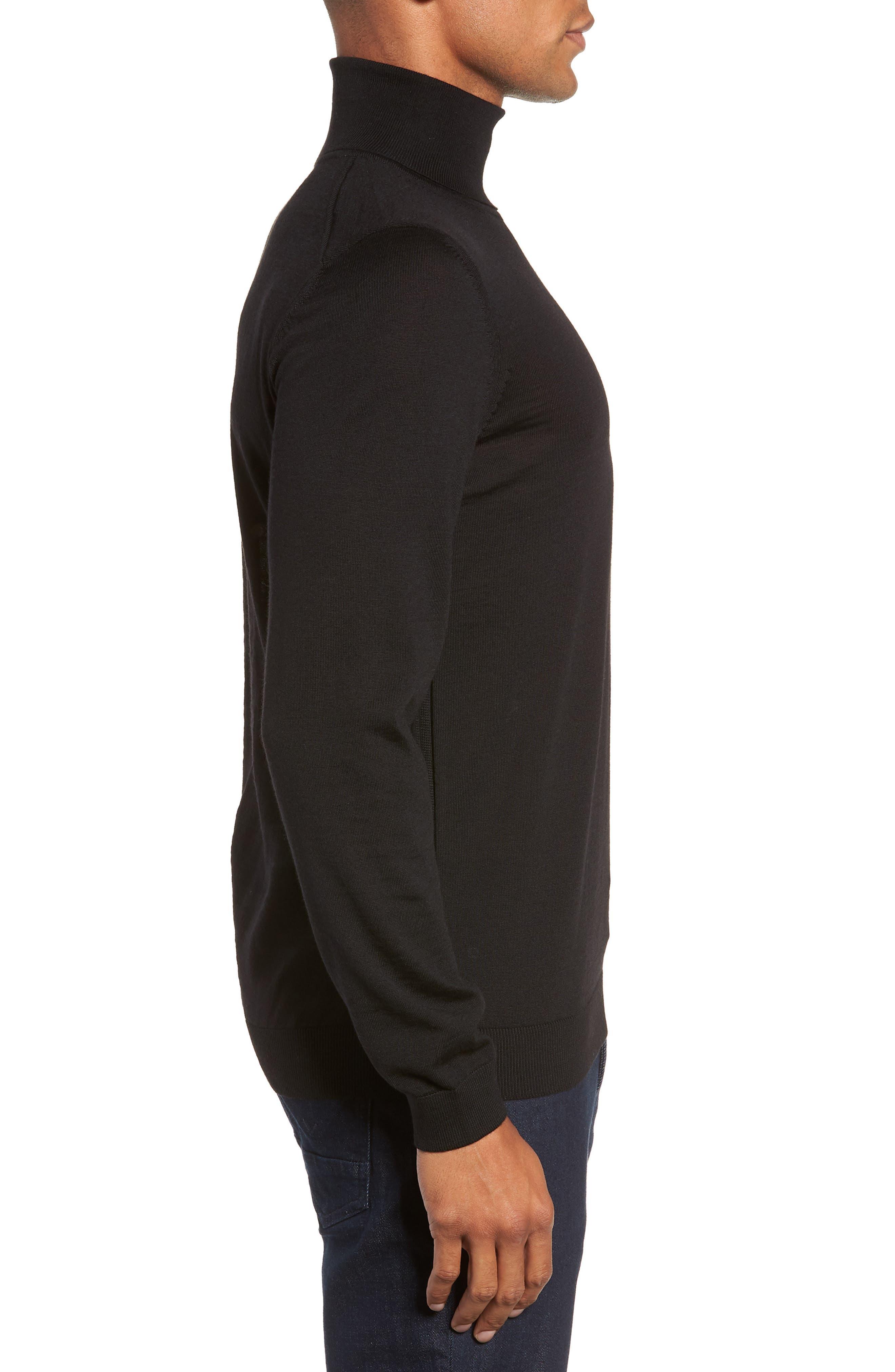Musso Slim Fit Wool Turtleneck Sweater,                             Alternate thumbnail 3, color,                             BLACK