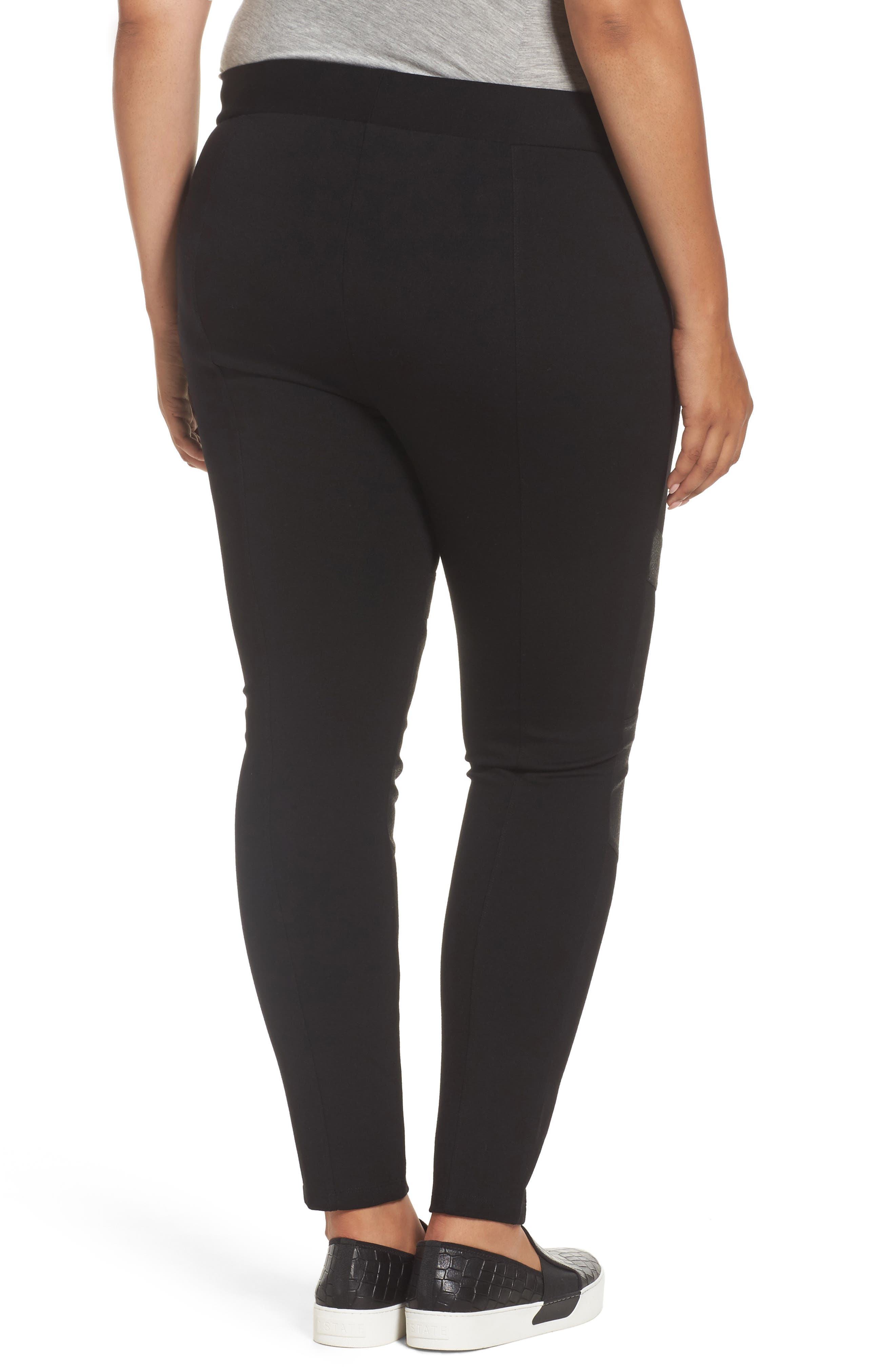 TWO BY VINCE CAMUTO,                             High Rise Lacquer Inset Moto Leggings,                             Alternate thumbnail 2, color,                             RICH BLACK