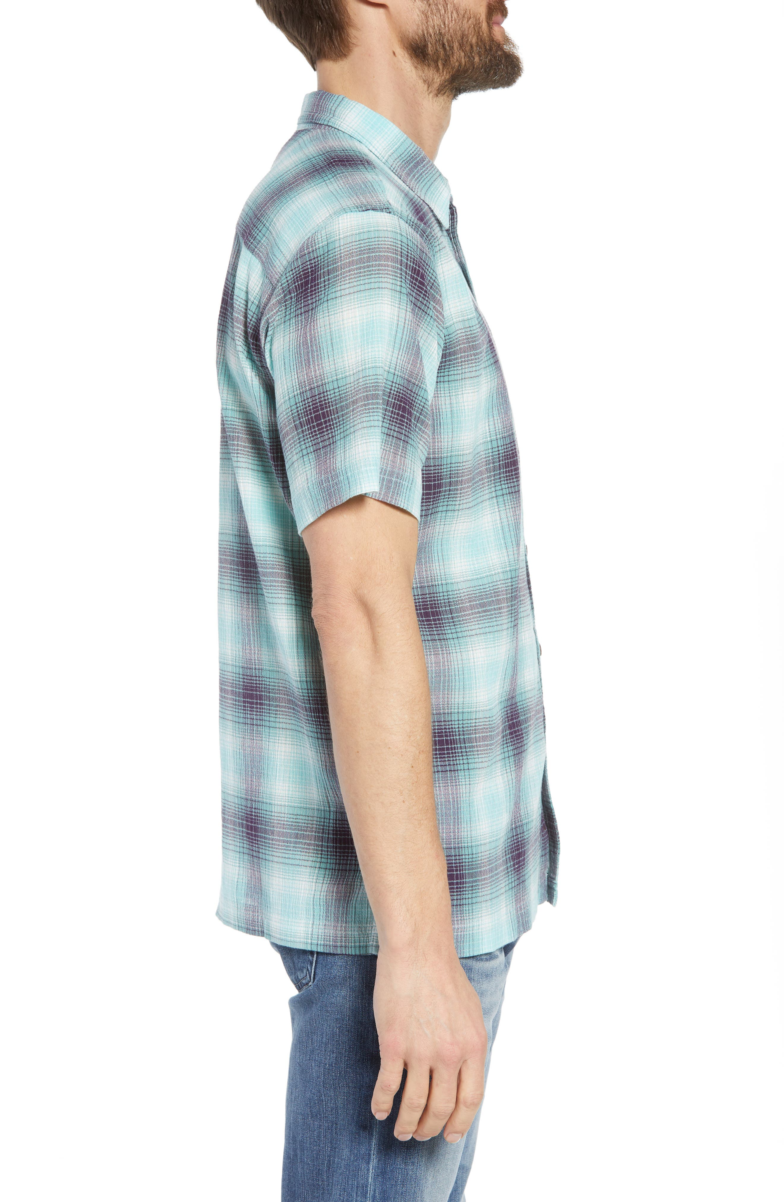 'A/C<sup>®</sup>' Regular Fit Organic Cotton Short Sleeve Sport Shirt,                             Alternate thumbnail 3, color,                             COSTA/ BERYL GREEN